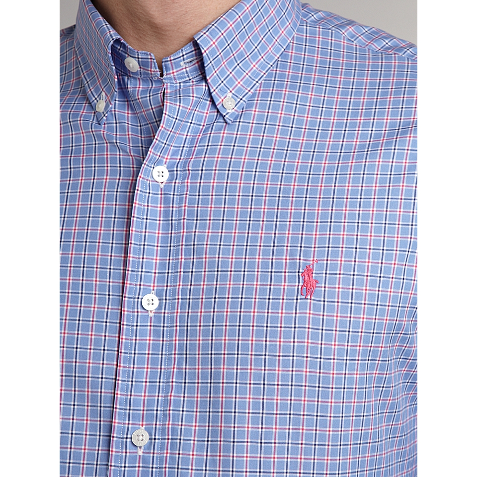 Polo Ralph Lauren Golf Long sleeved checked shirt Blue