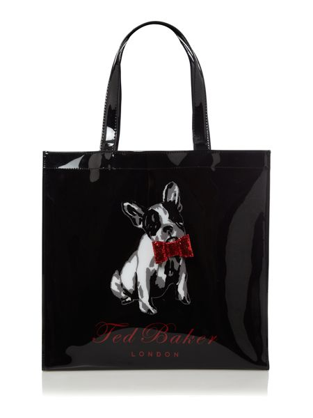 Ted Baker Black puppy bowcon tote bag