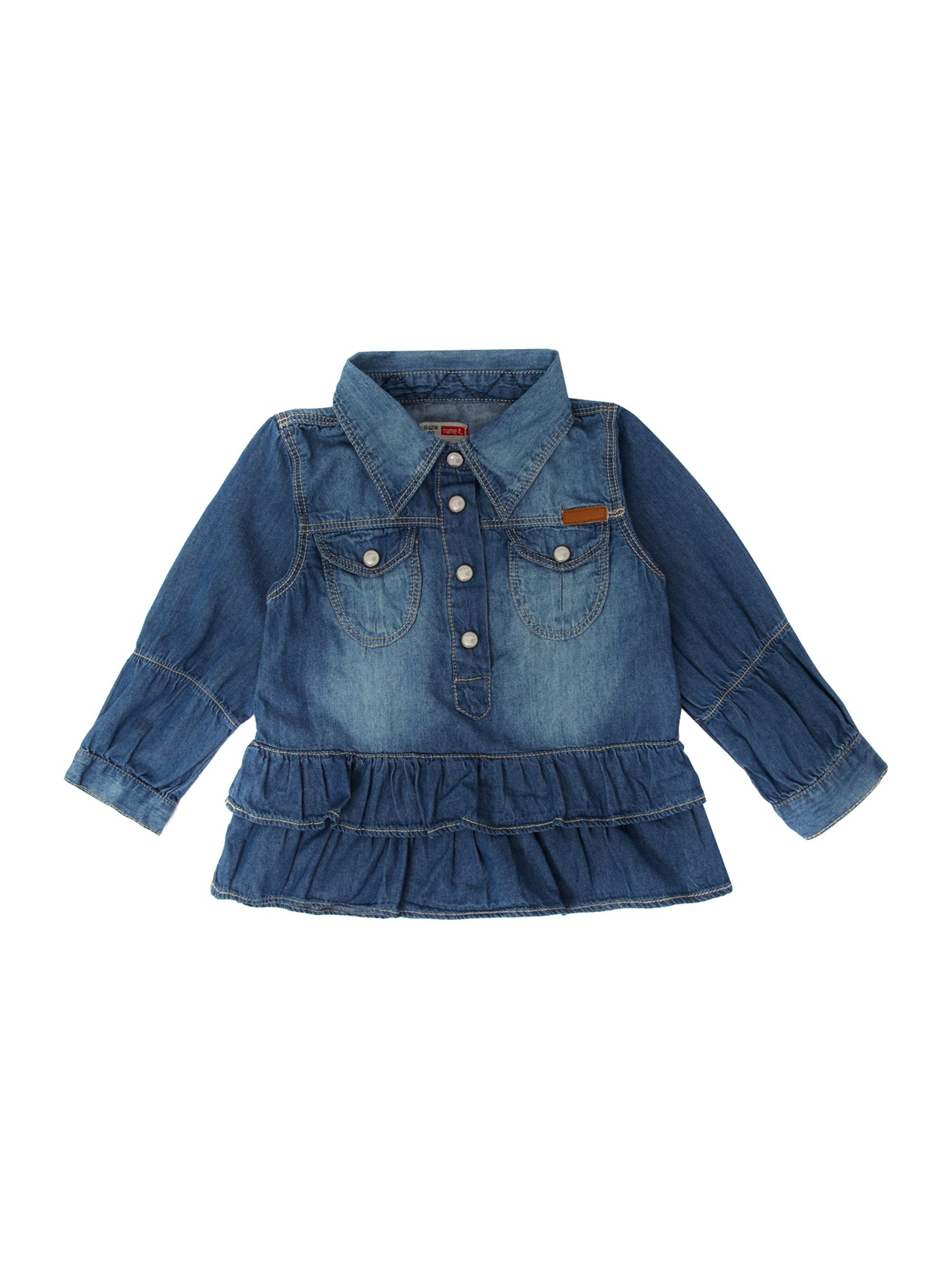 Long-sleeved frill denim shirt