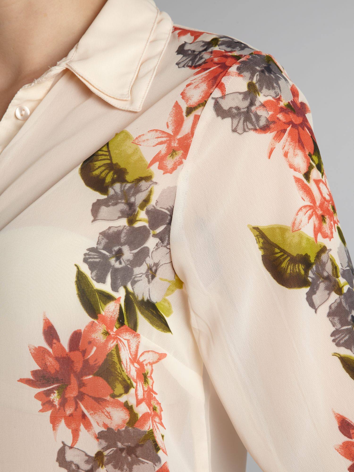 Sheer floral long sleeve blouse