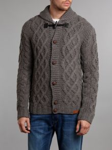 Shawl neck cable knit cardigan with toggle detail