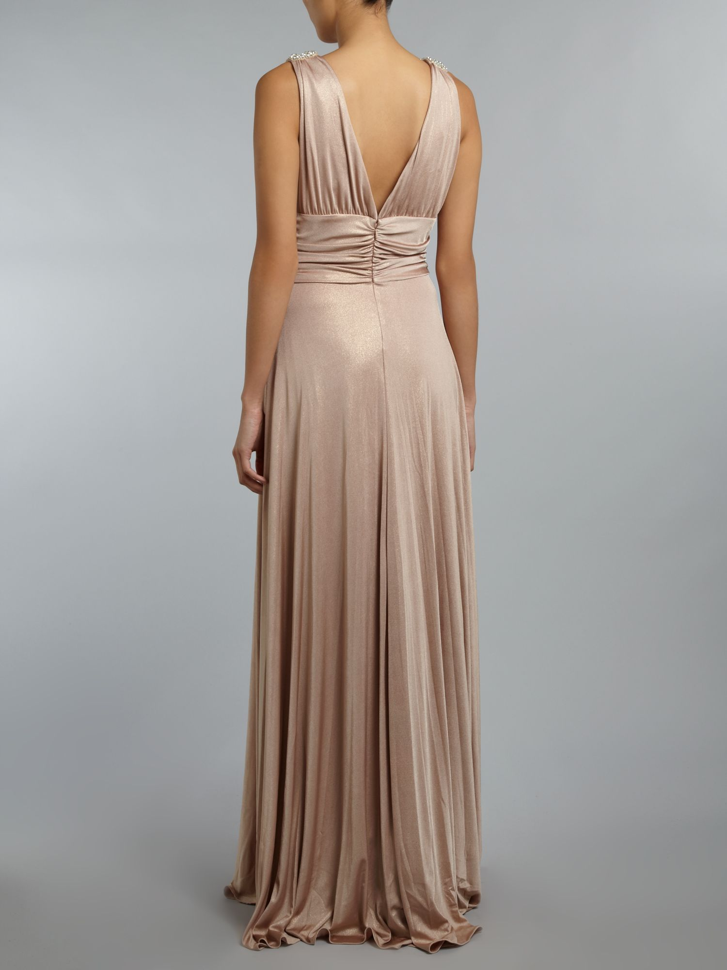 Metallic maxi jersey dress