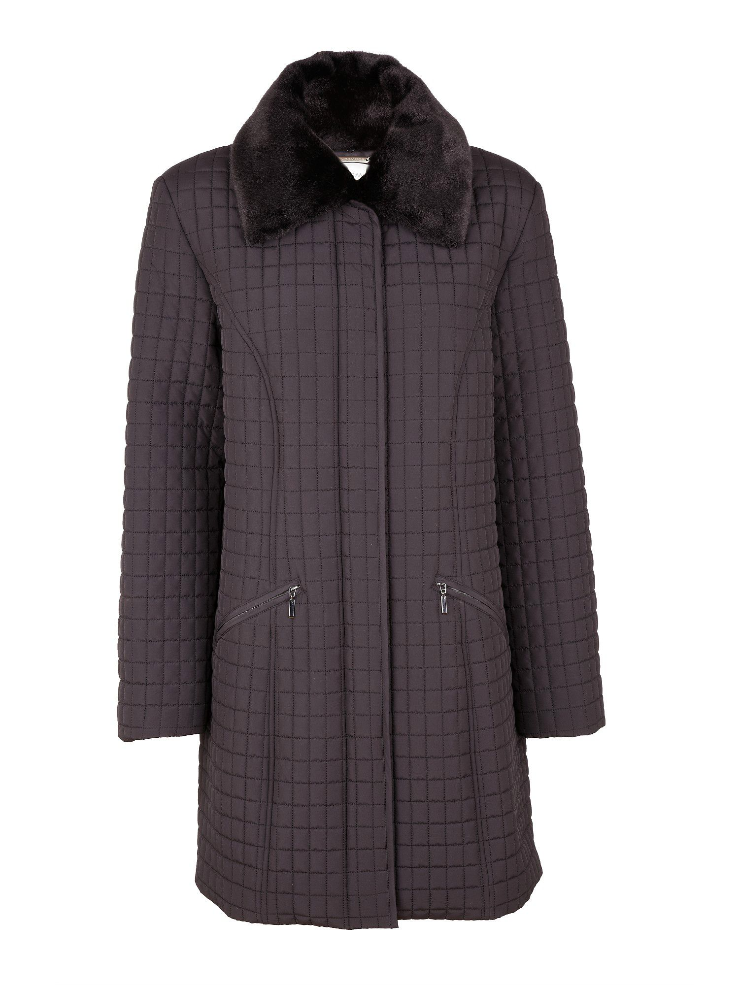 Black animal collar coat