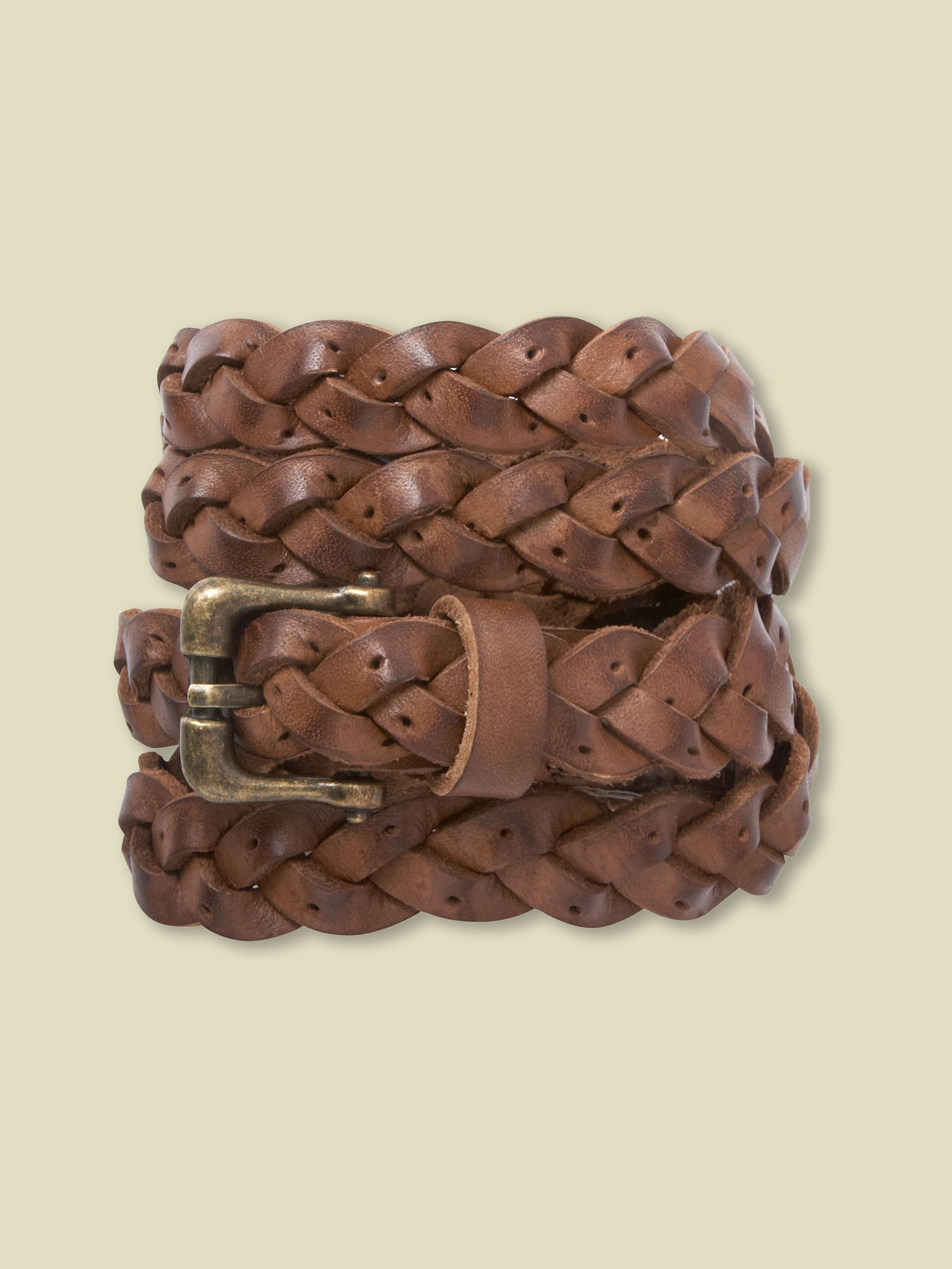 Skinny punch out plait belt