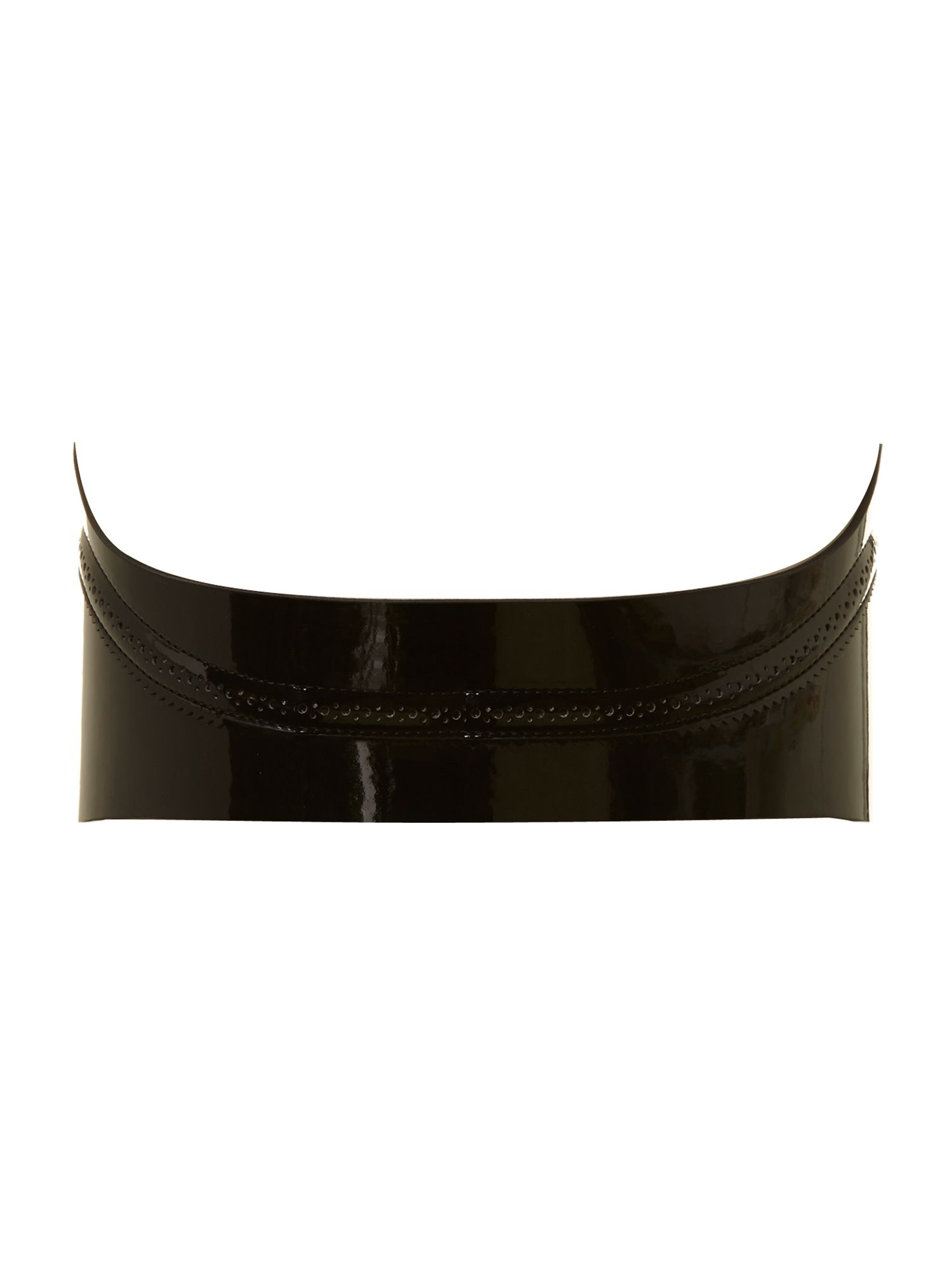 Patent leather waist zip belt