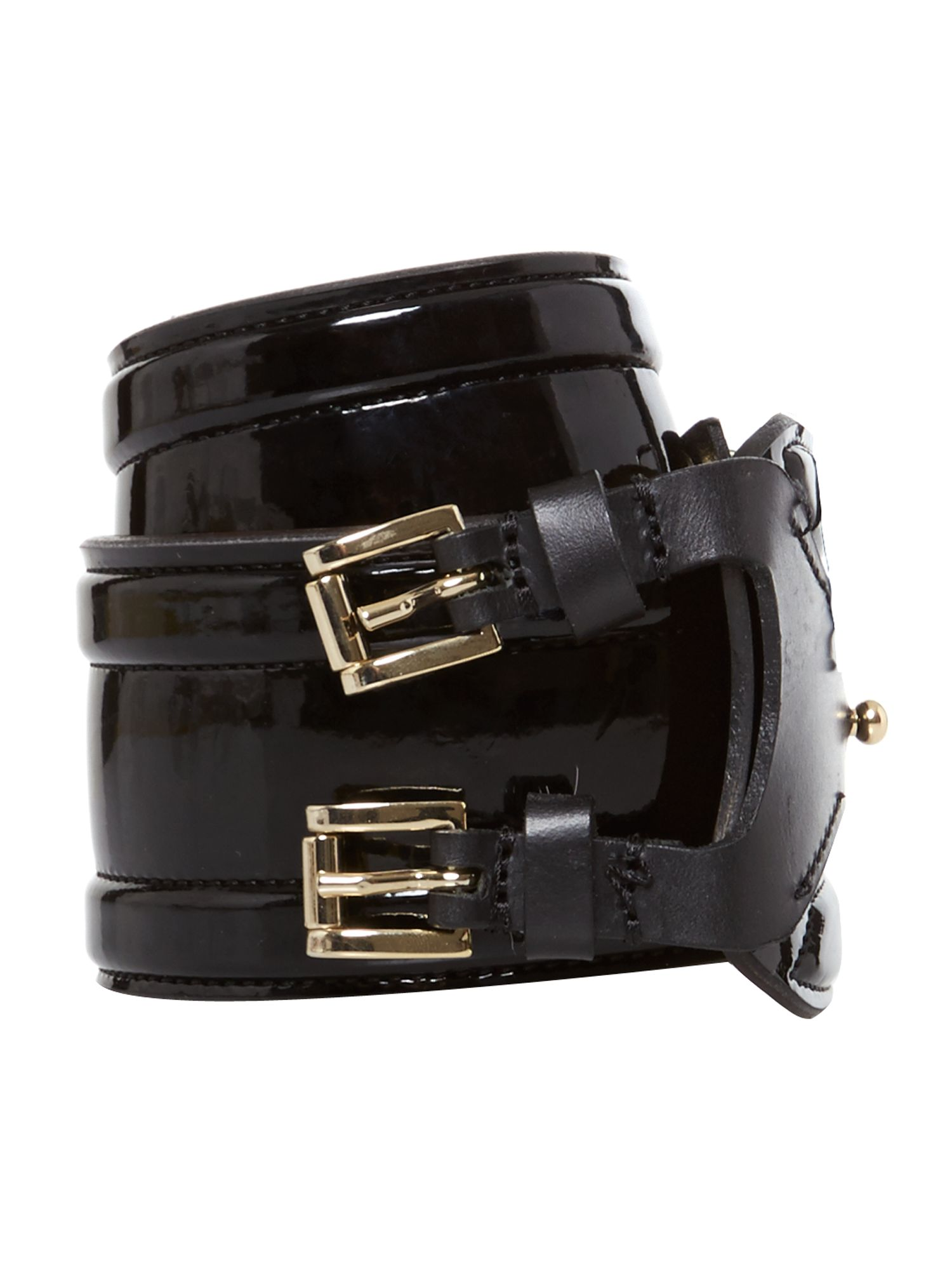 Patent leather bombe belt