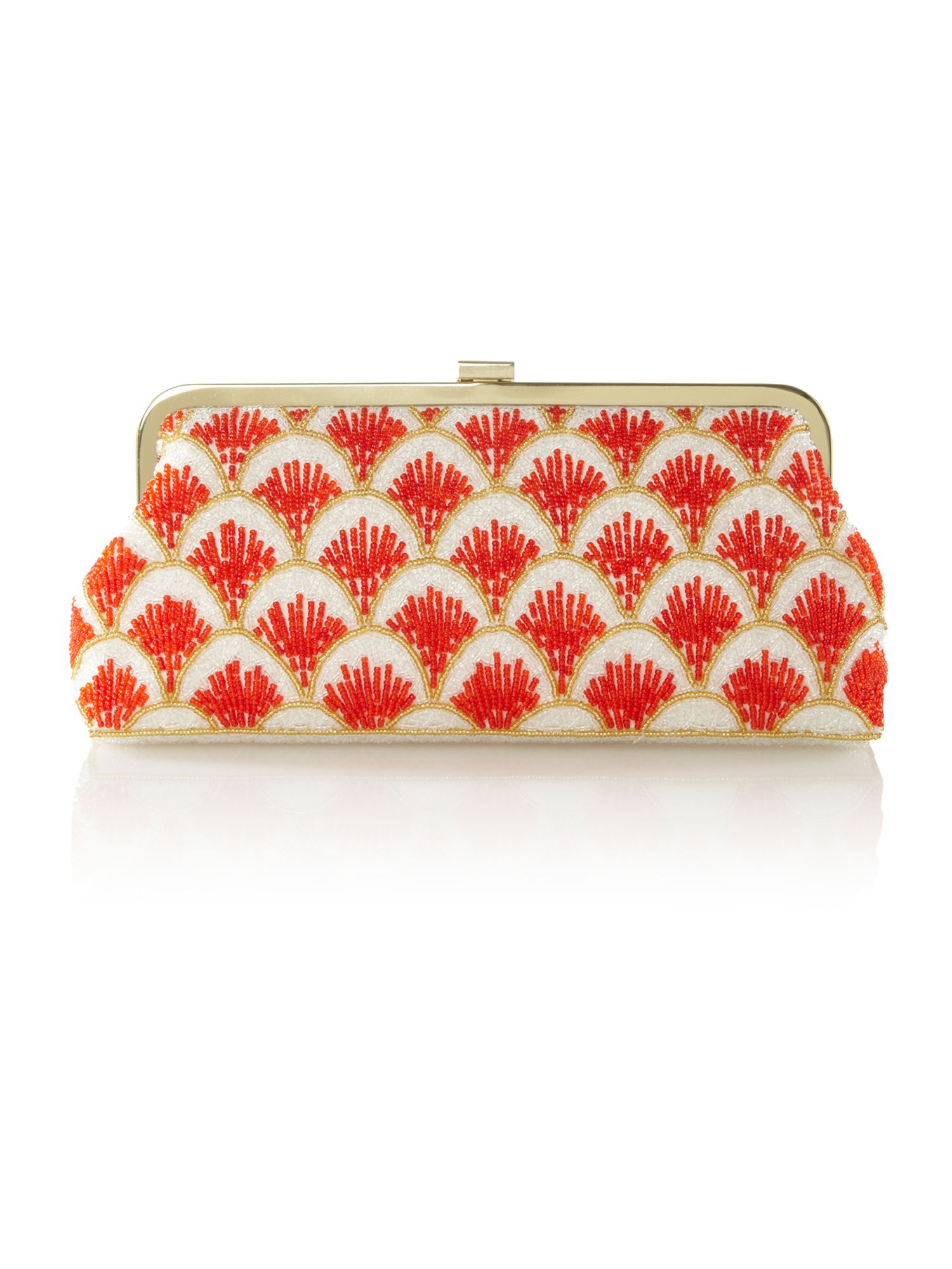 Frame beaded clutch bag