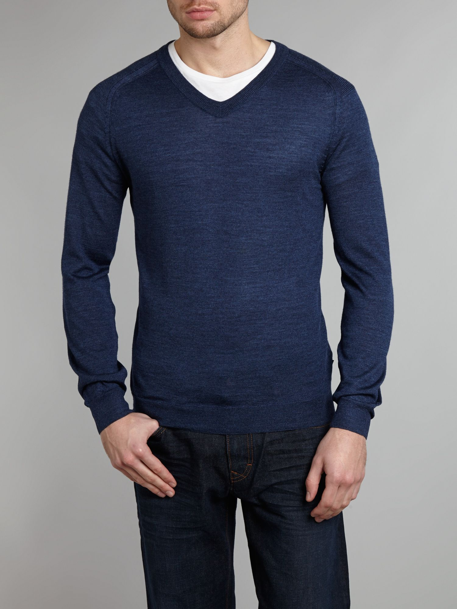 Virgin wool and silk V neck knitwear