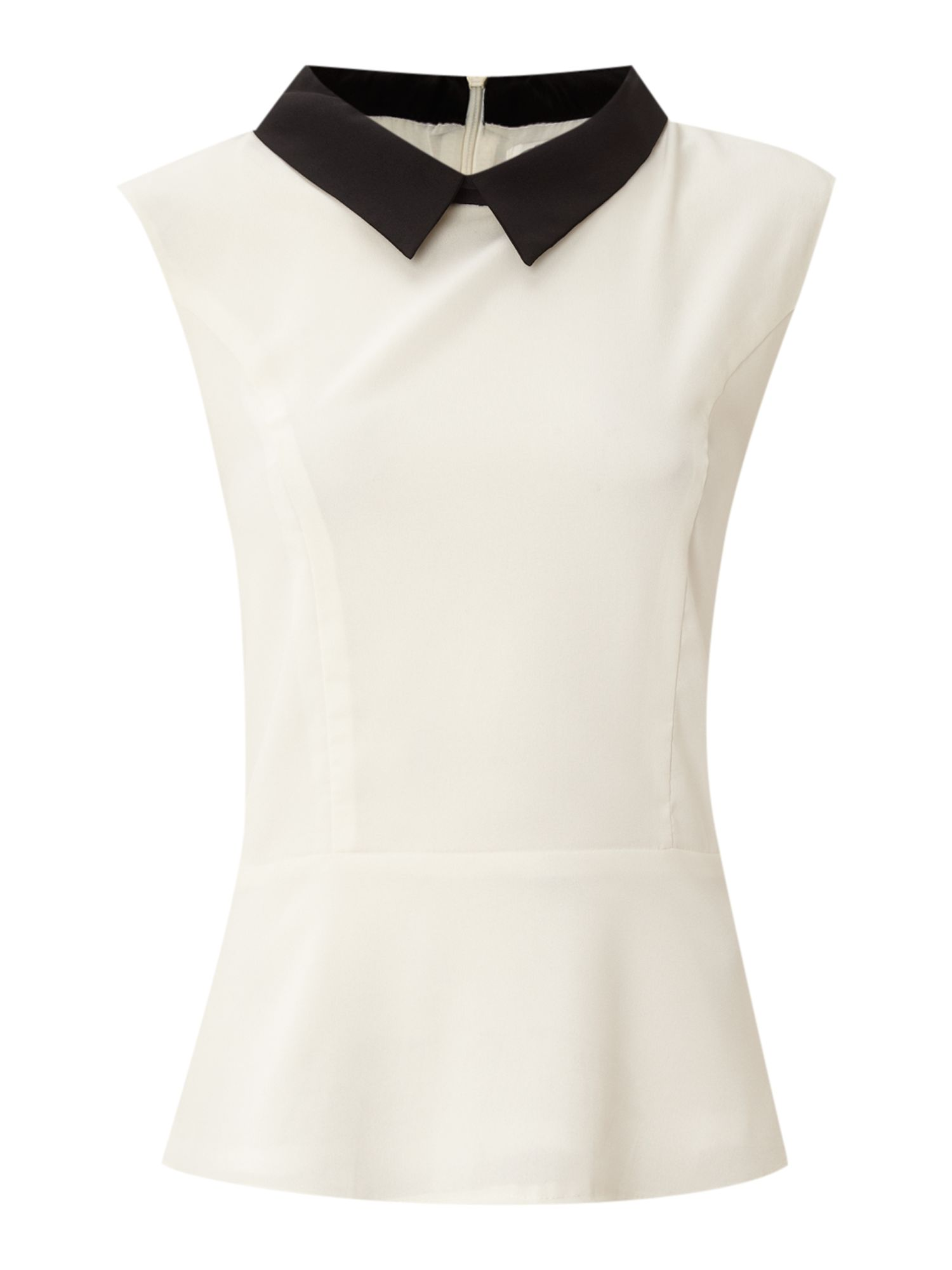 Contrast collar peplum top