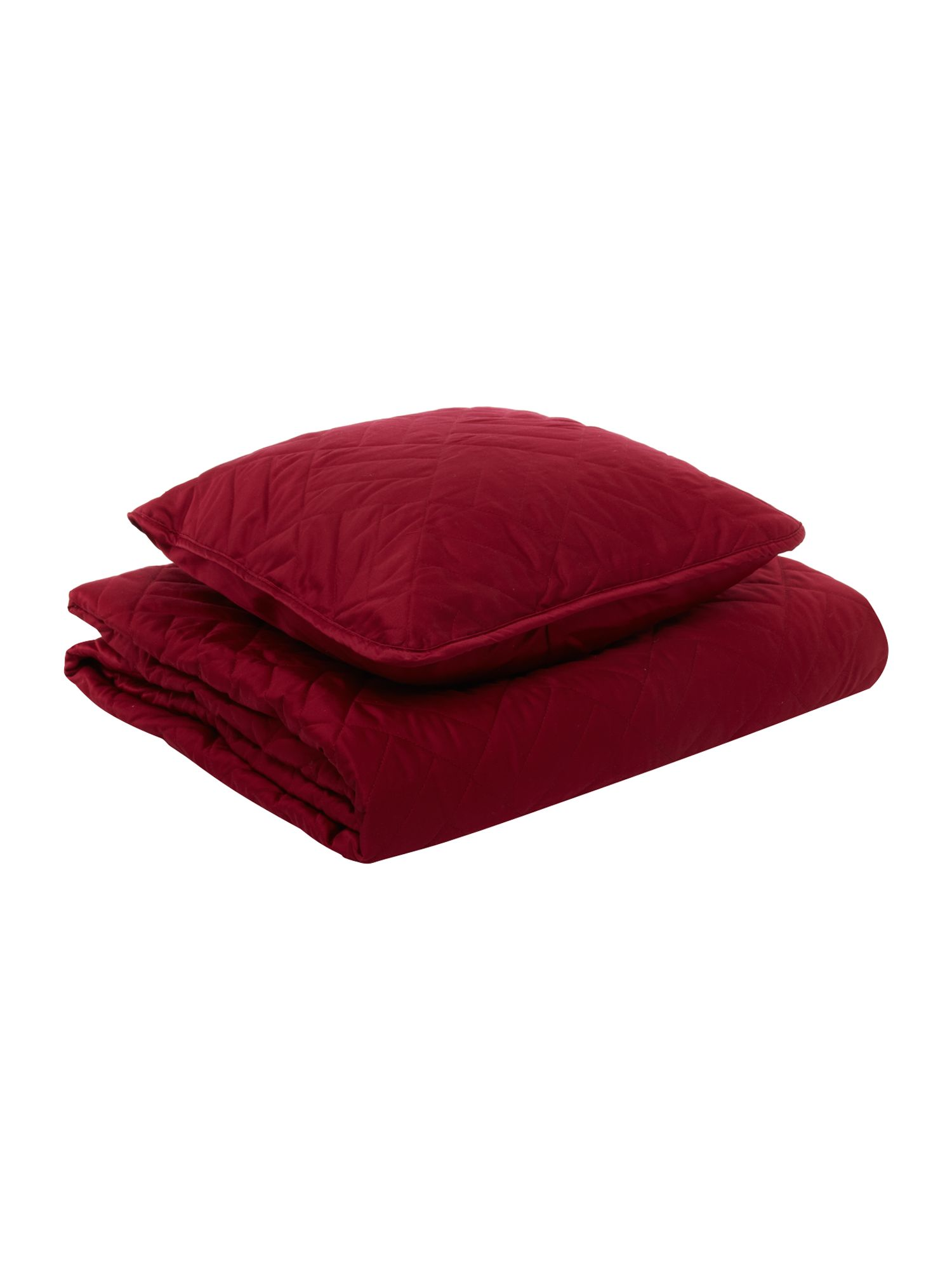 Bedcover and cushion in cherry