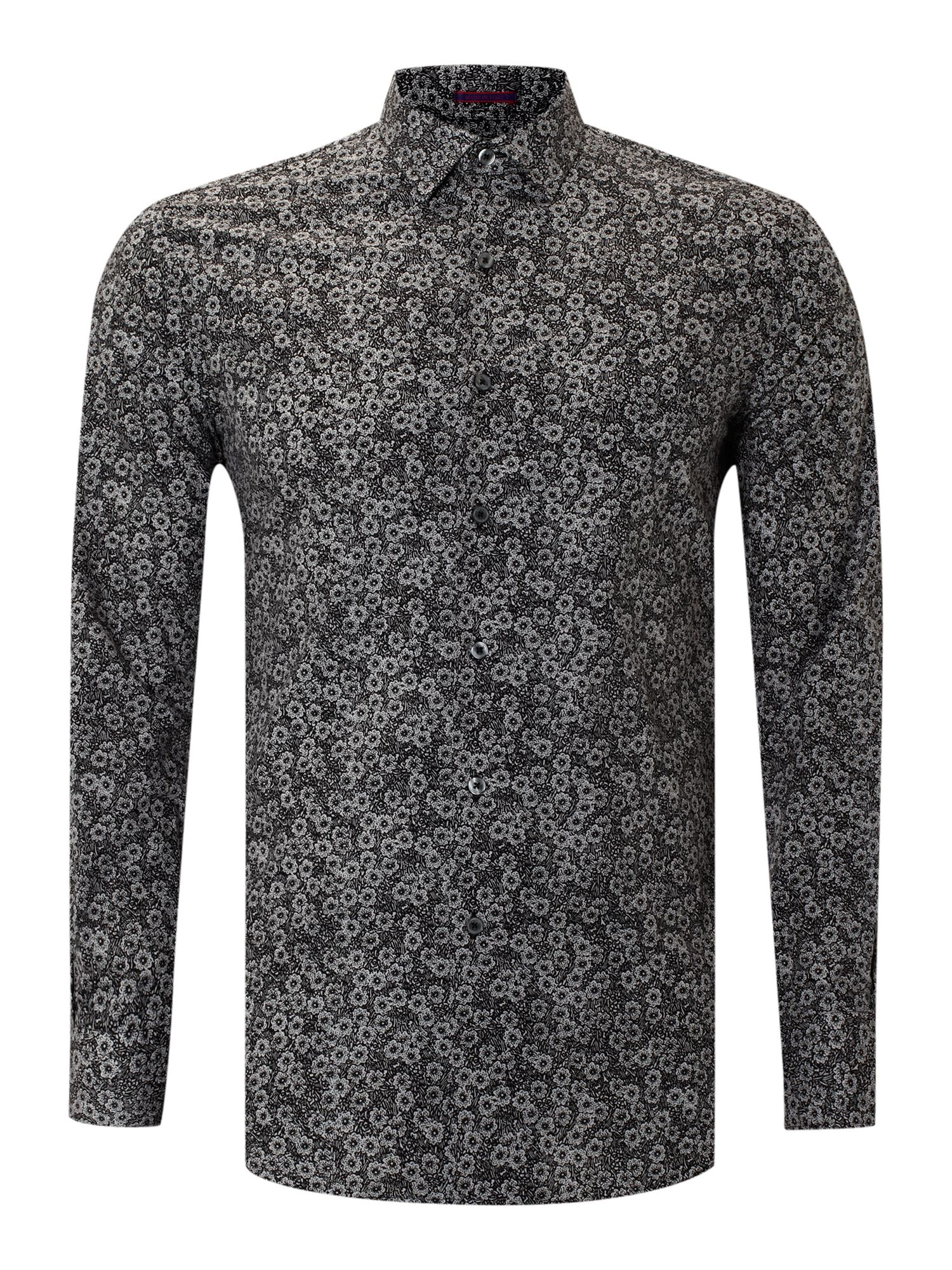 Long sleeved floral print slim fit shirt