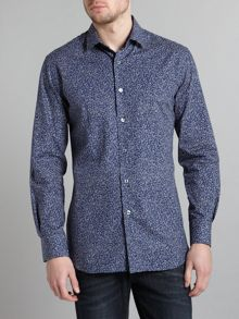 Paul Smith London Long sleeved leaf print slim fit shirt