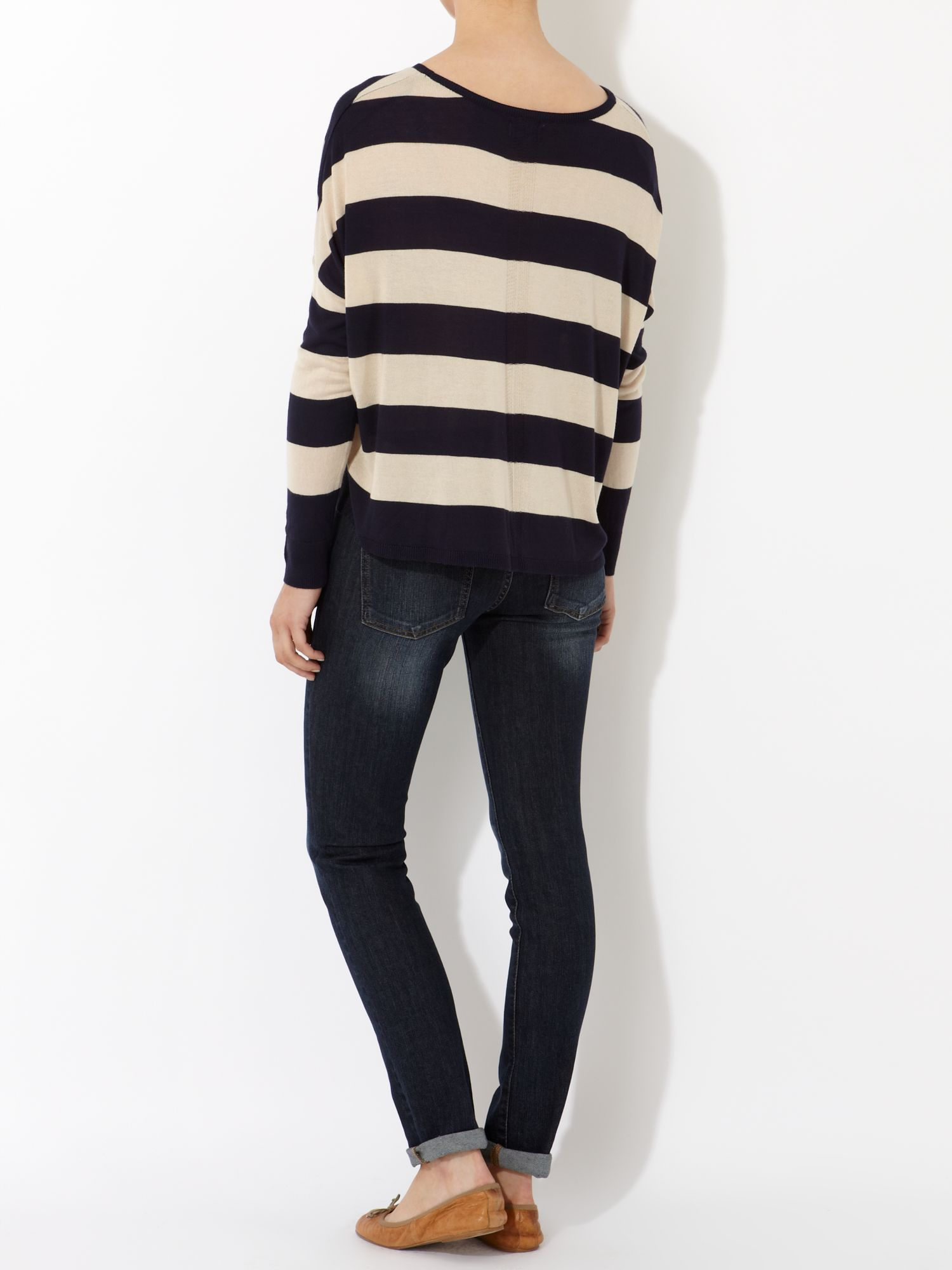 Ladies Long Sleeve Stripe Crew Neck Jumper