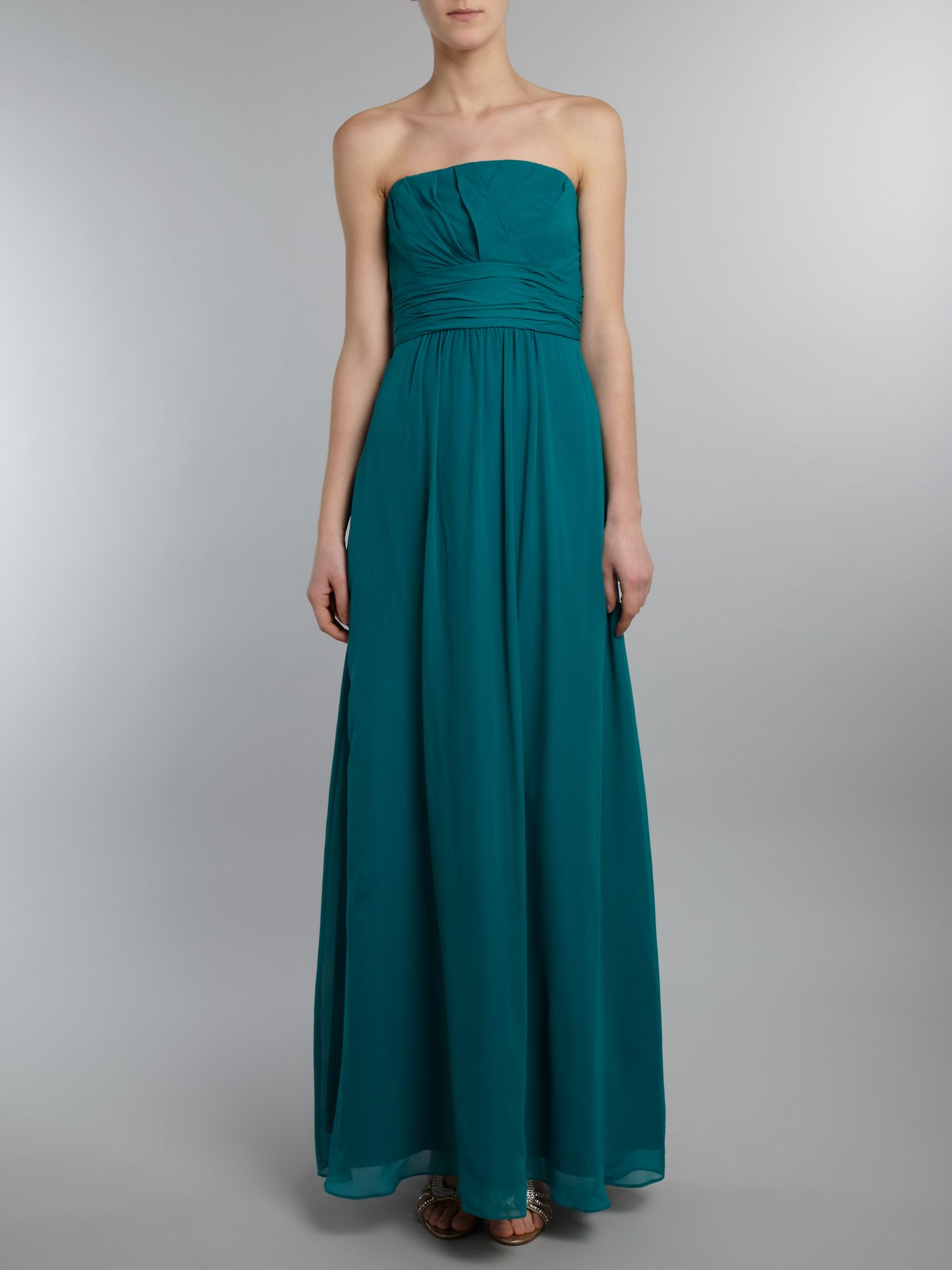 Strapless long silk dress