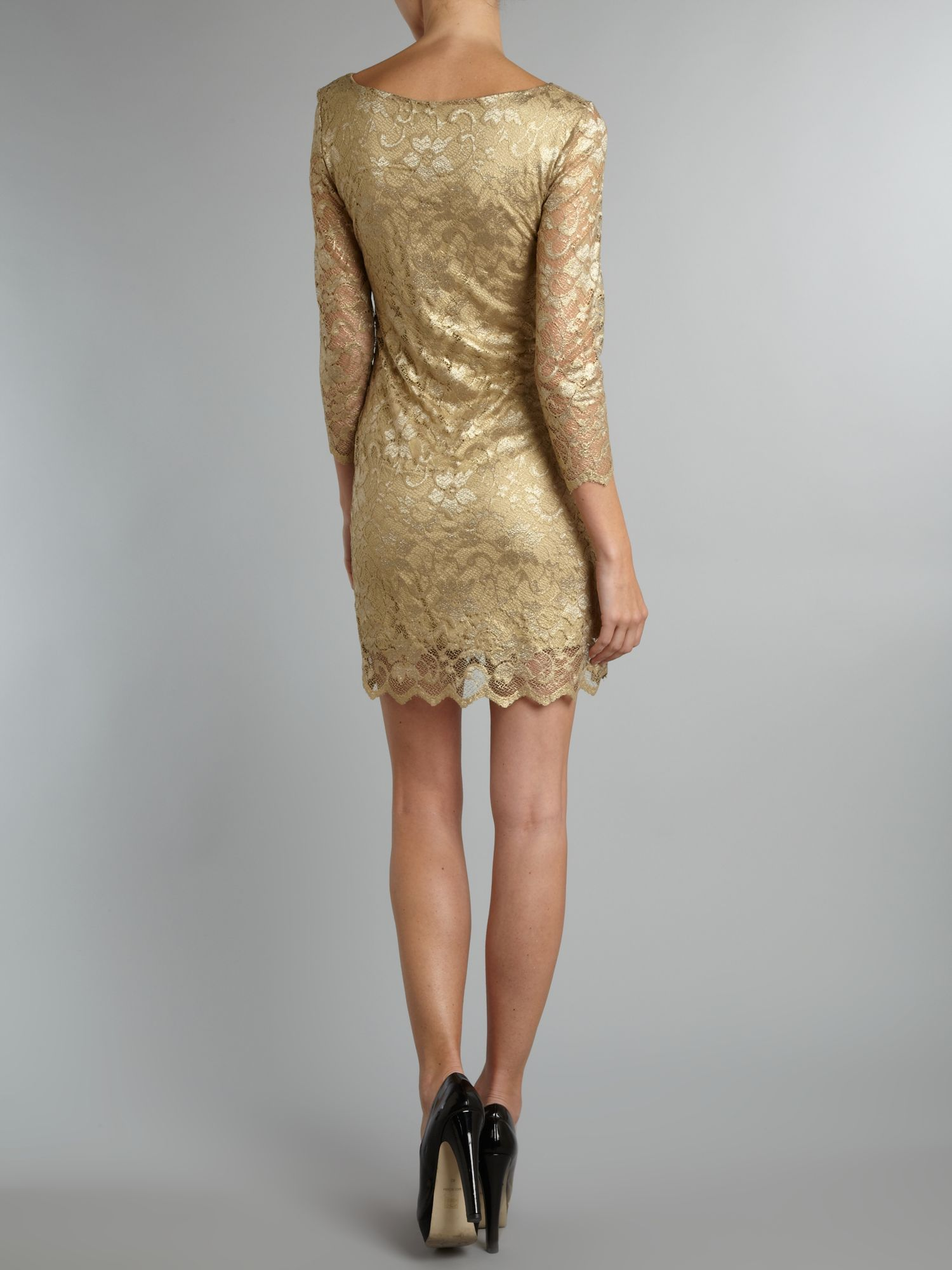 Long sleeve metallic lace dress