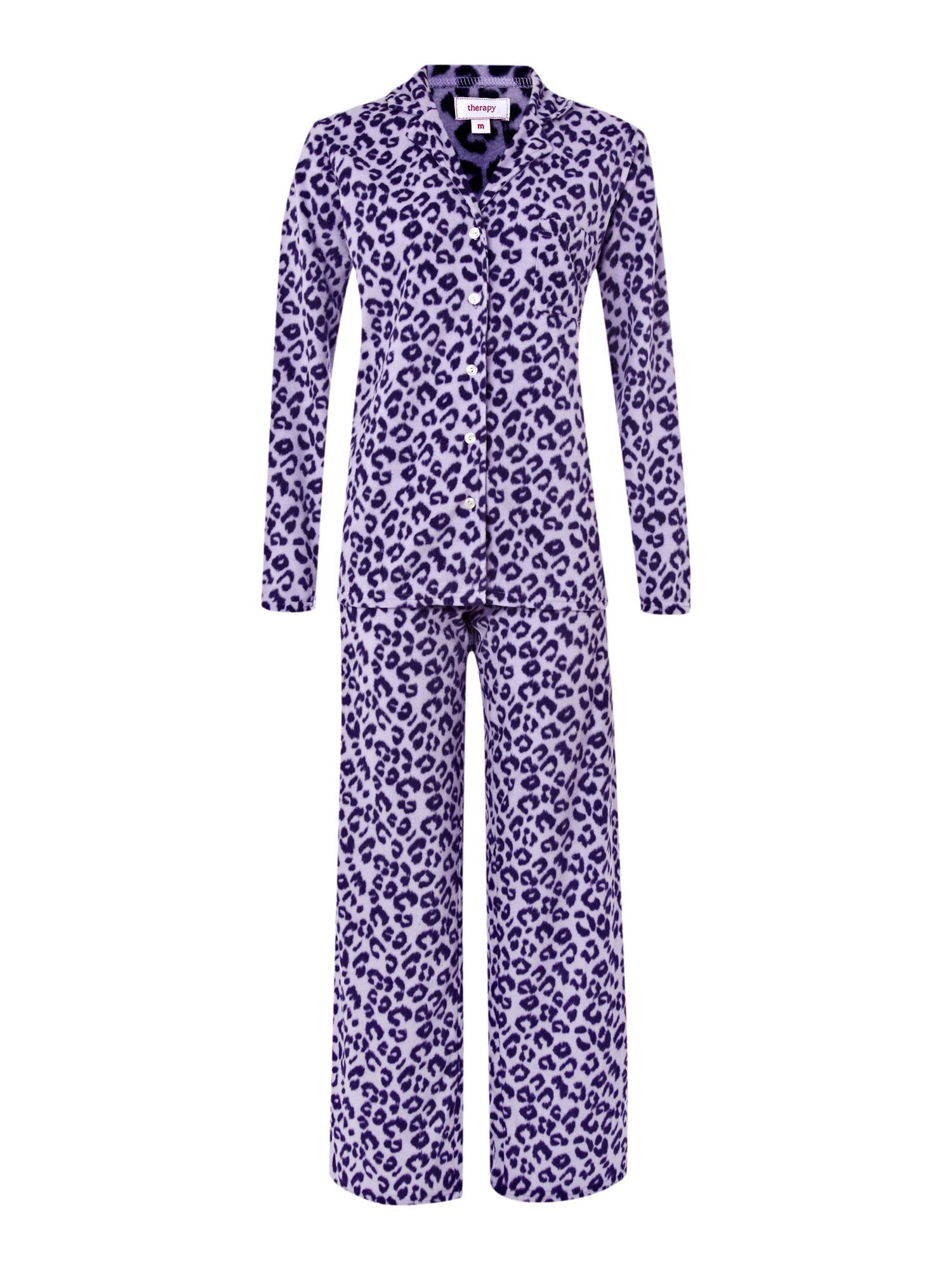 Leopard print fleece pj set