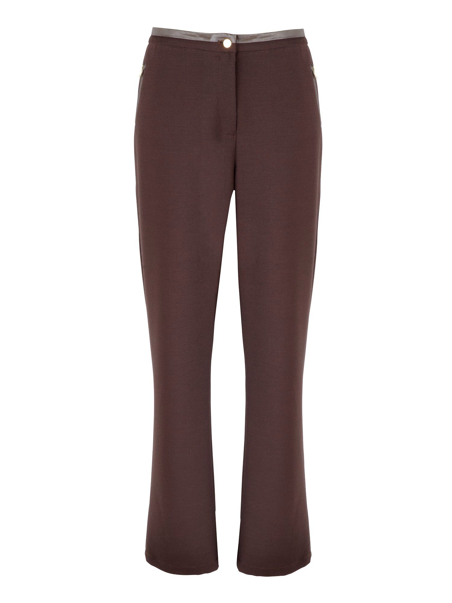 Leatherette trim trousers