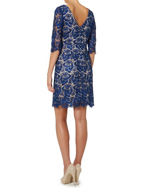 Untold Knee Length Lace Sleeved Dress