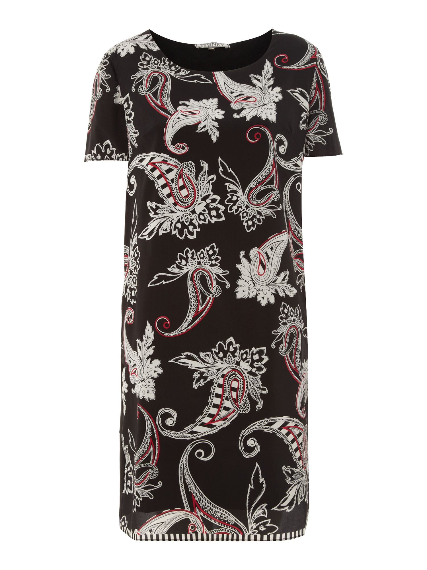 Printed silk and jersey dress