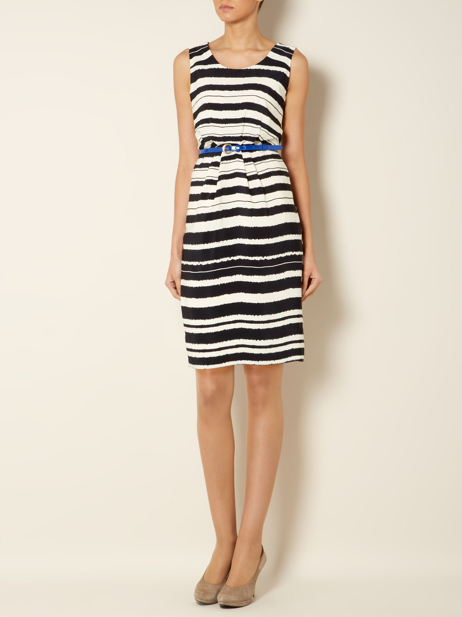 Painted stripe woven soft belt dress
