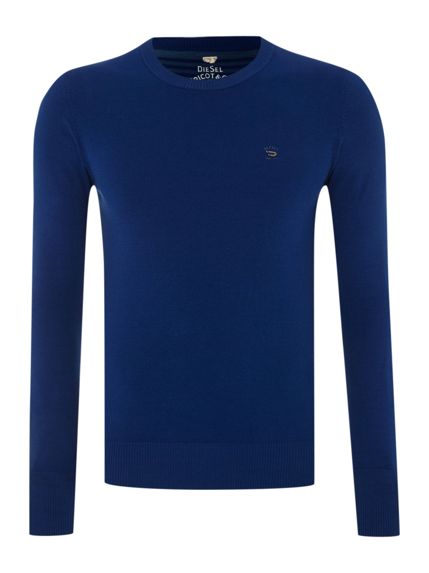 Crew neck fine knit jumper with logo