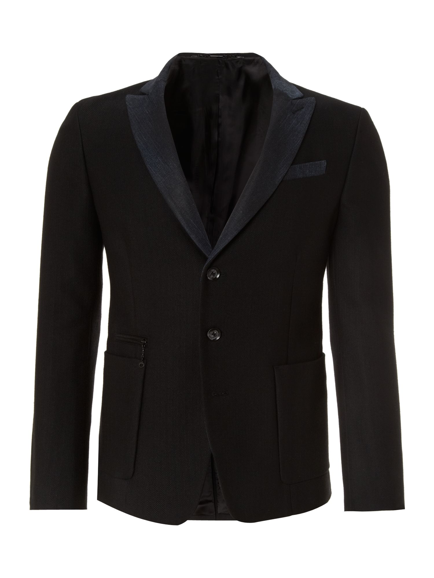 with contrasting lapel and pocket