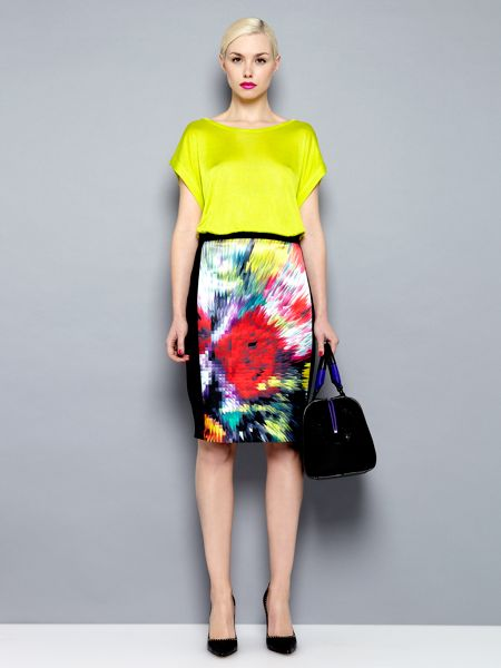 Pied a Terre Printed ponte roma colour print skirt
