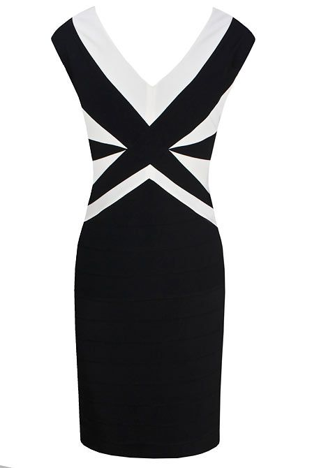 Black ottoman contrast dress