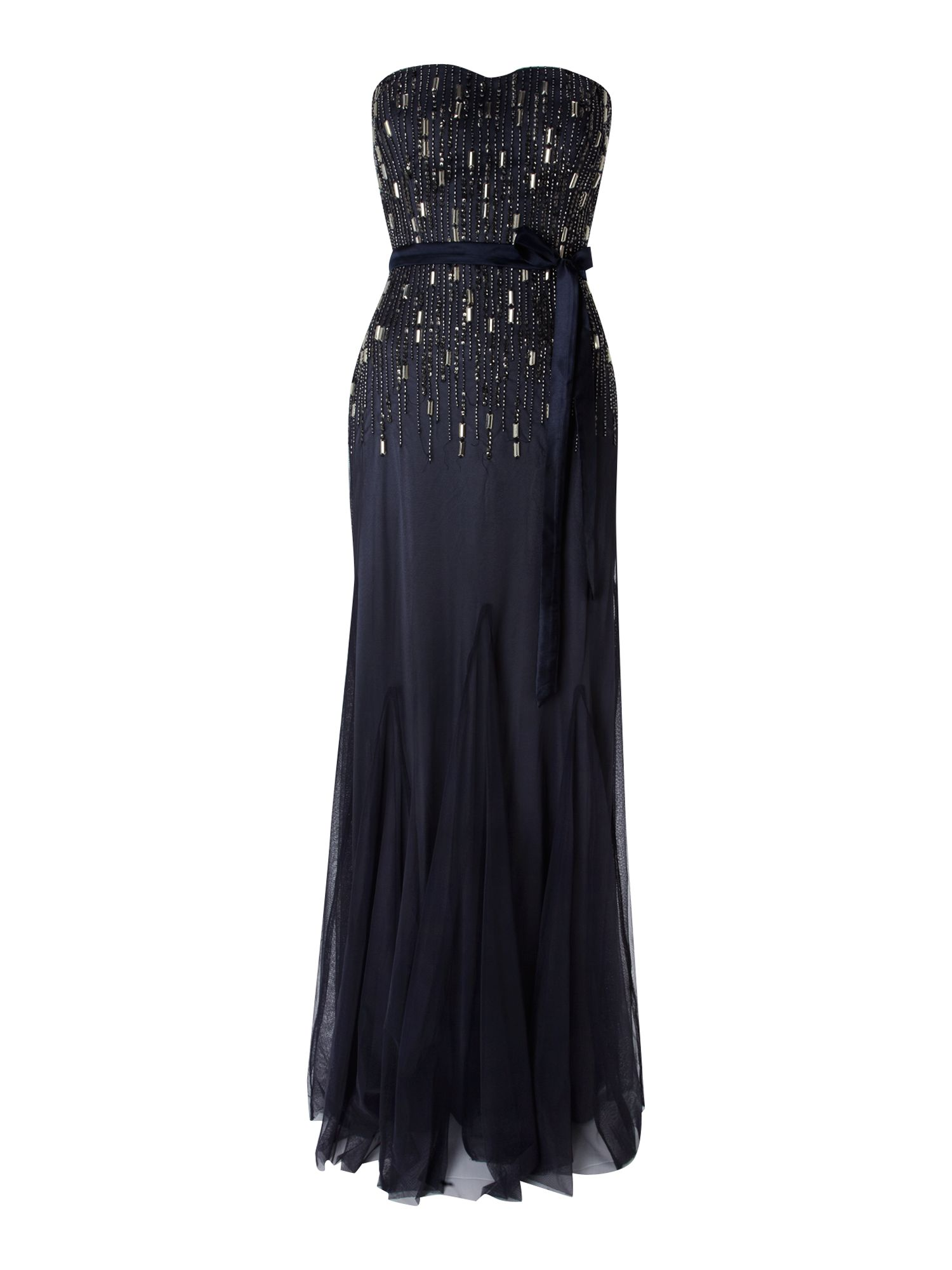 Embellished bodice tie waist dress
