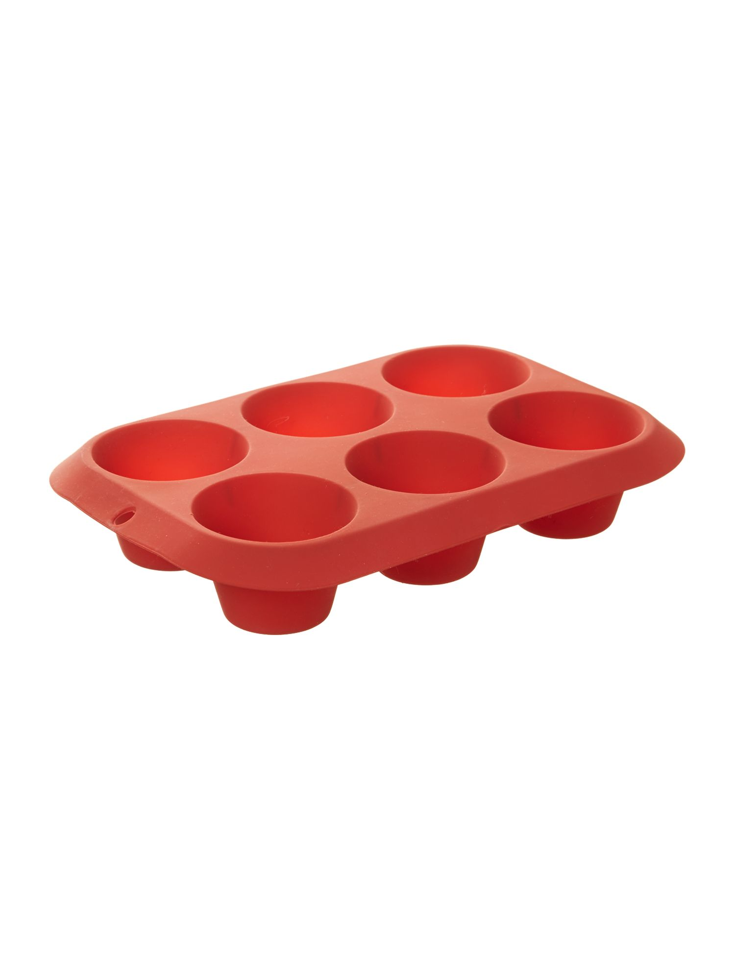 Silicone 6 cup muffin mould, red