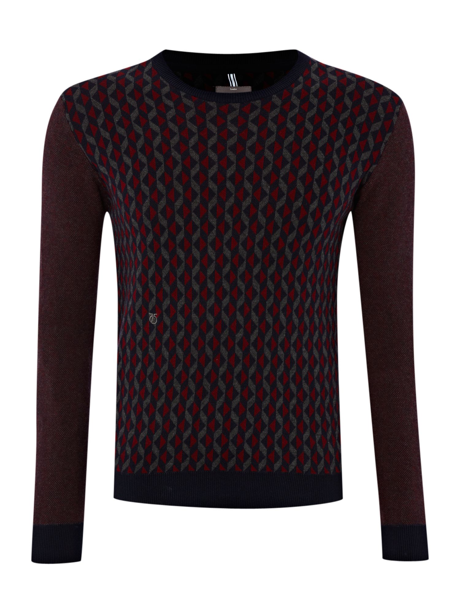 Geometric pattern crew neck sweater