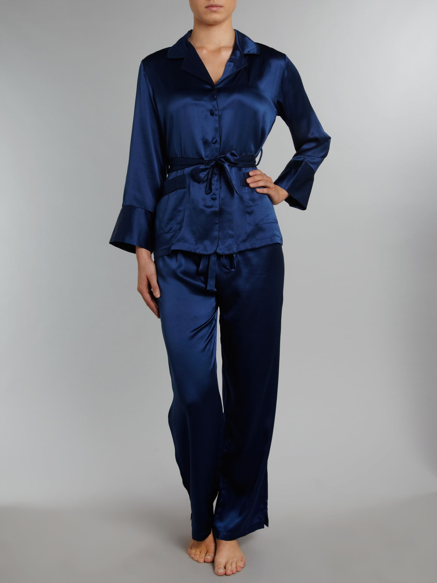 Jeanne silk pjs with contrast piping - exclusive