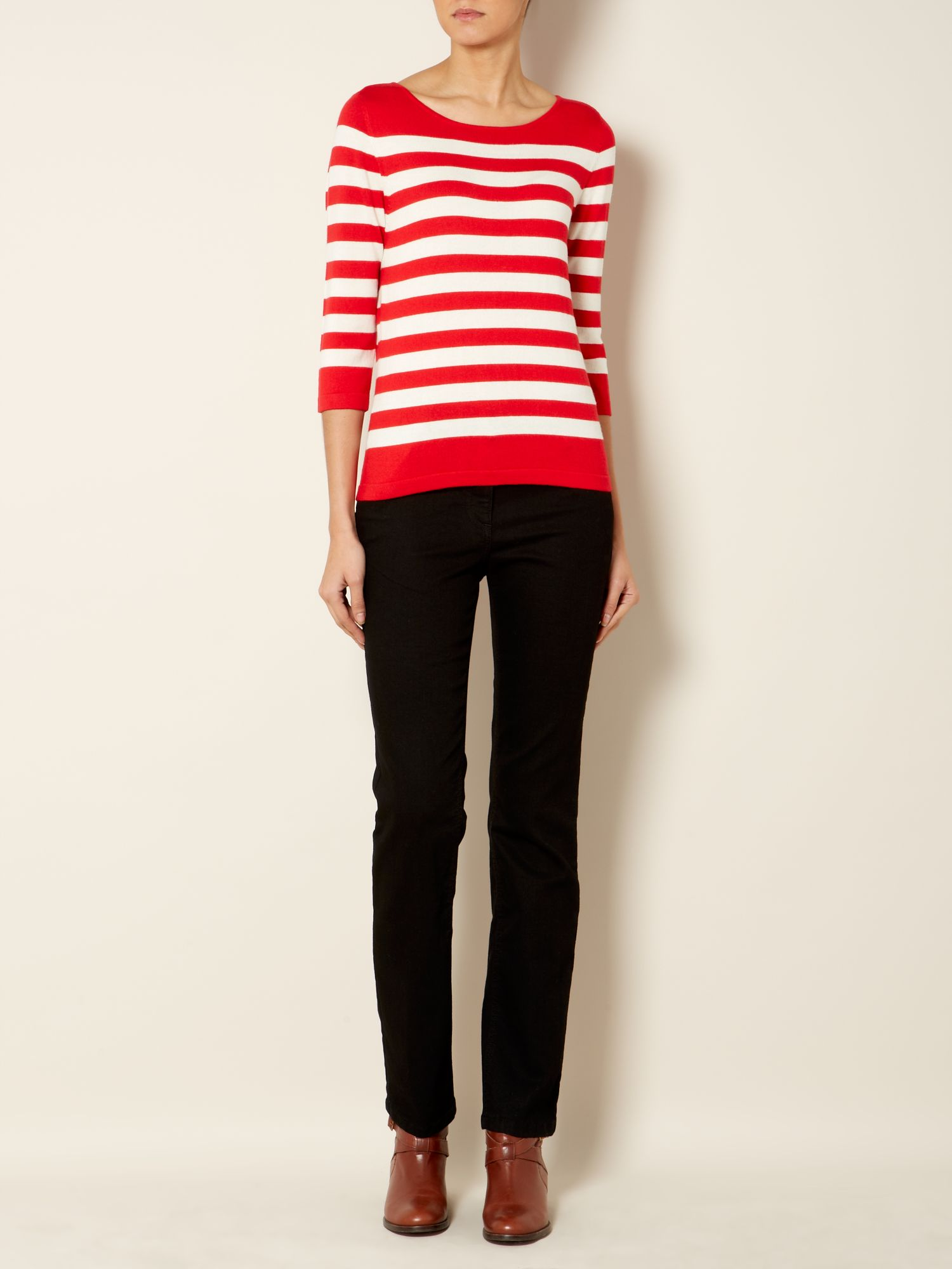 Knit jumper stripe 3/4 sleeve