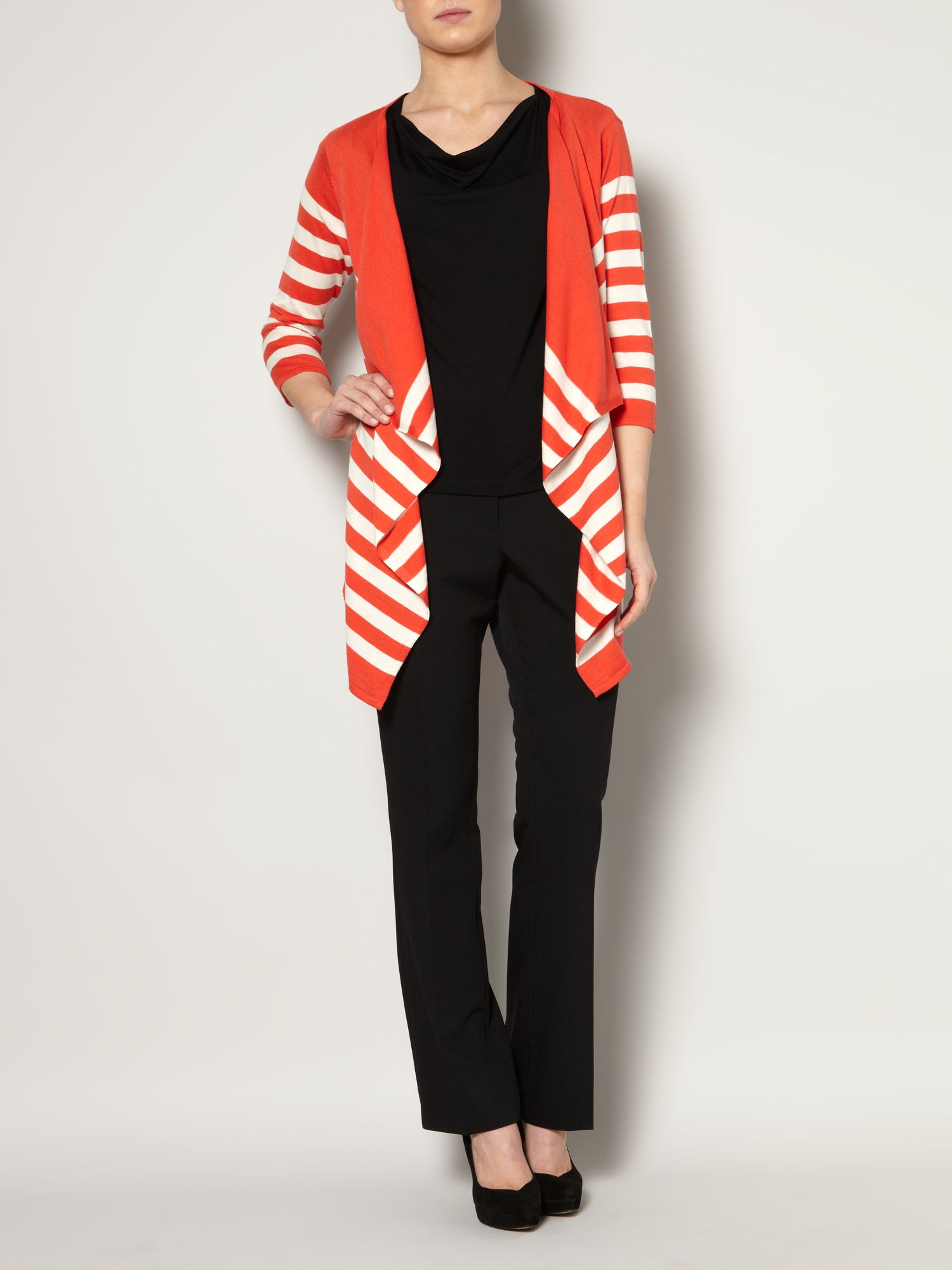 Knit waterfall stripe cardigan