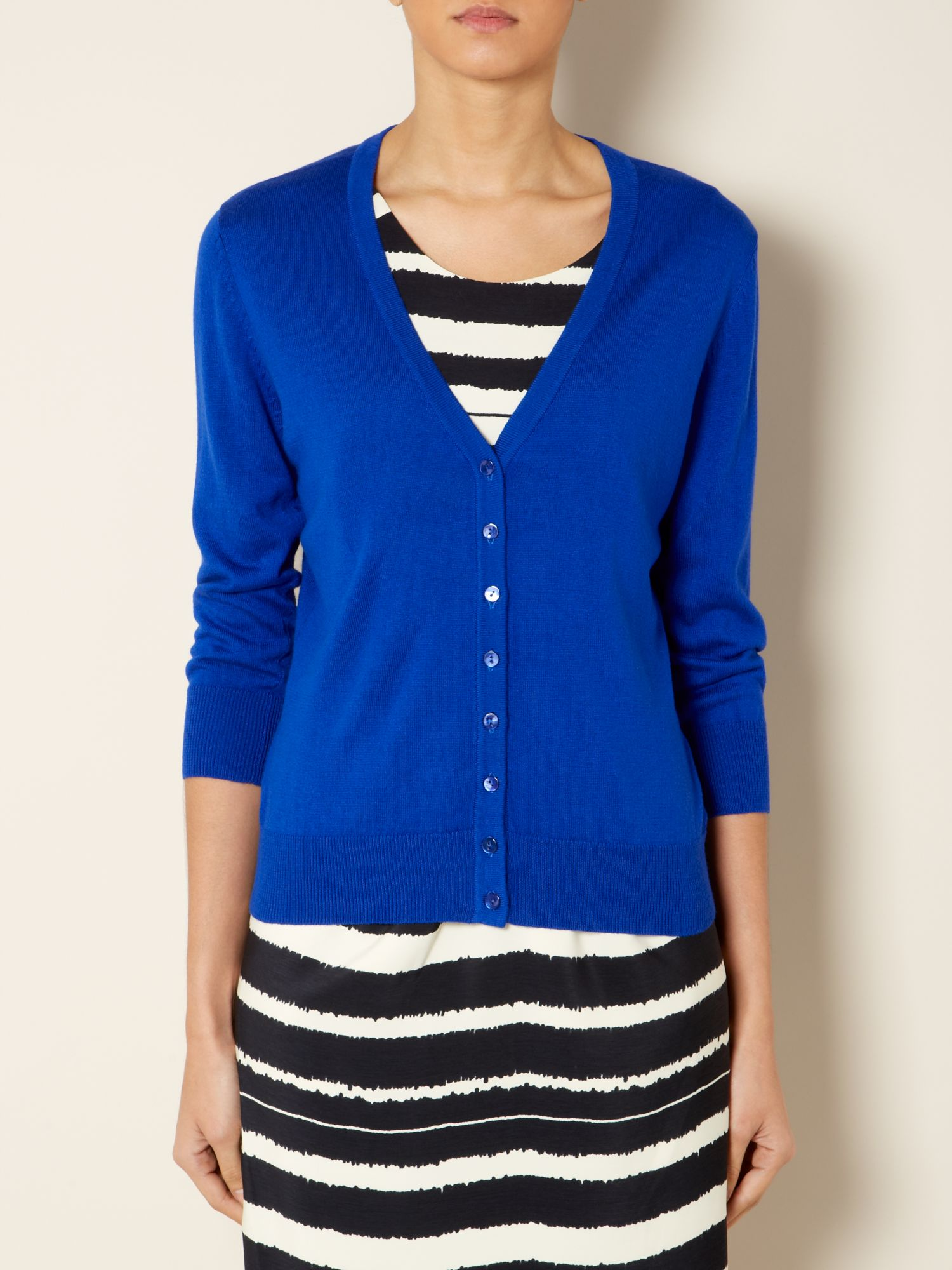 Knit cardigan 3/4 sleeve v-neck