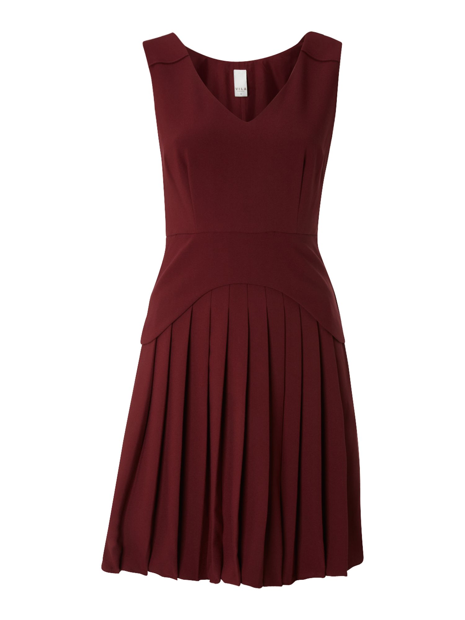 Pleated peplum skirt dress