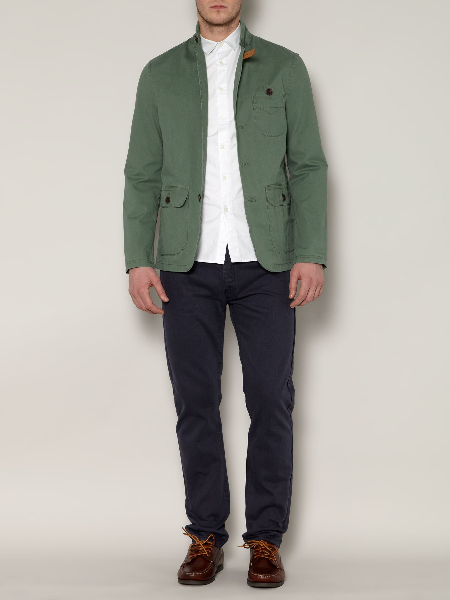 Collie cotton twill light jacket with leather tab