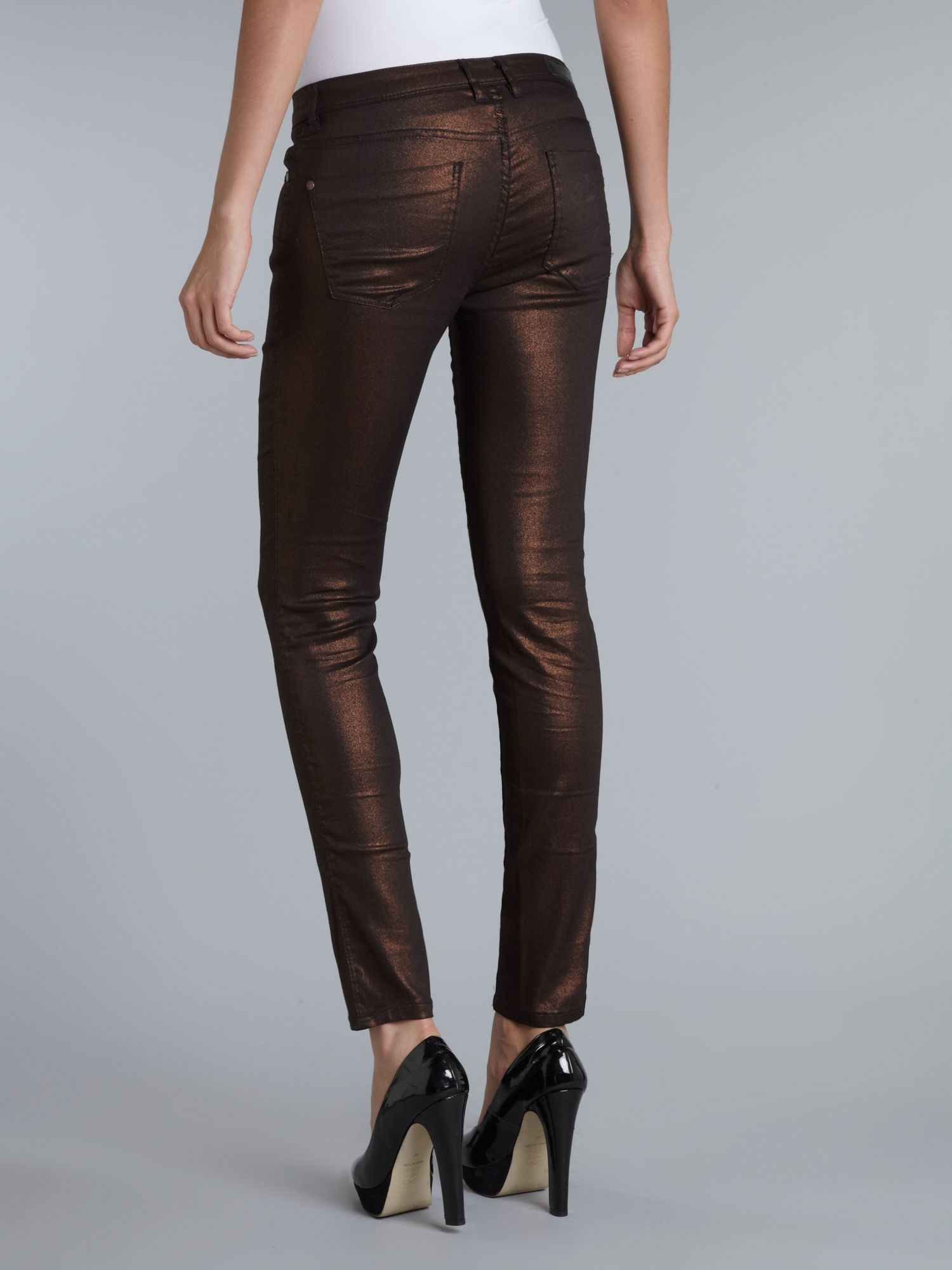 Metallic slim jean