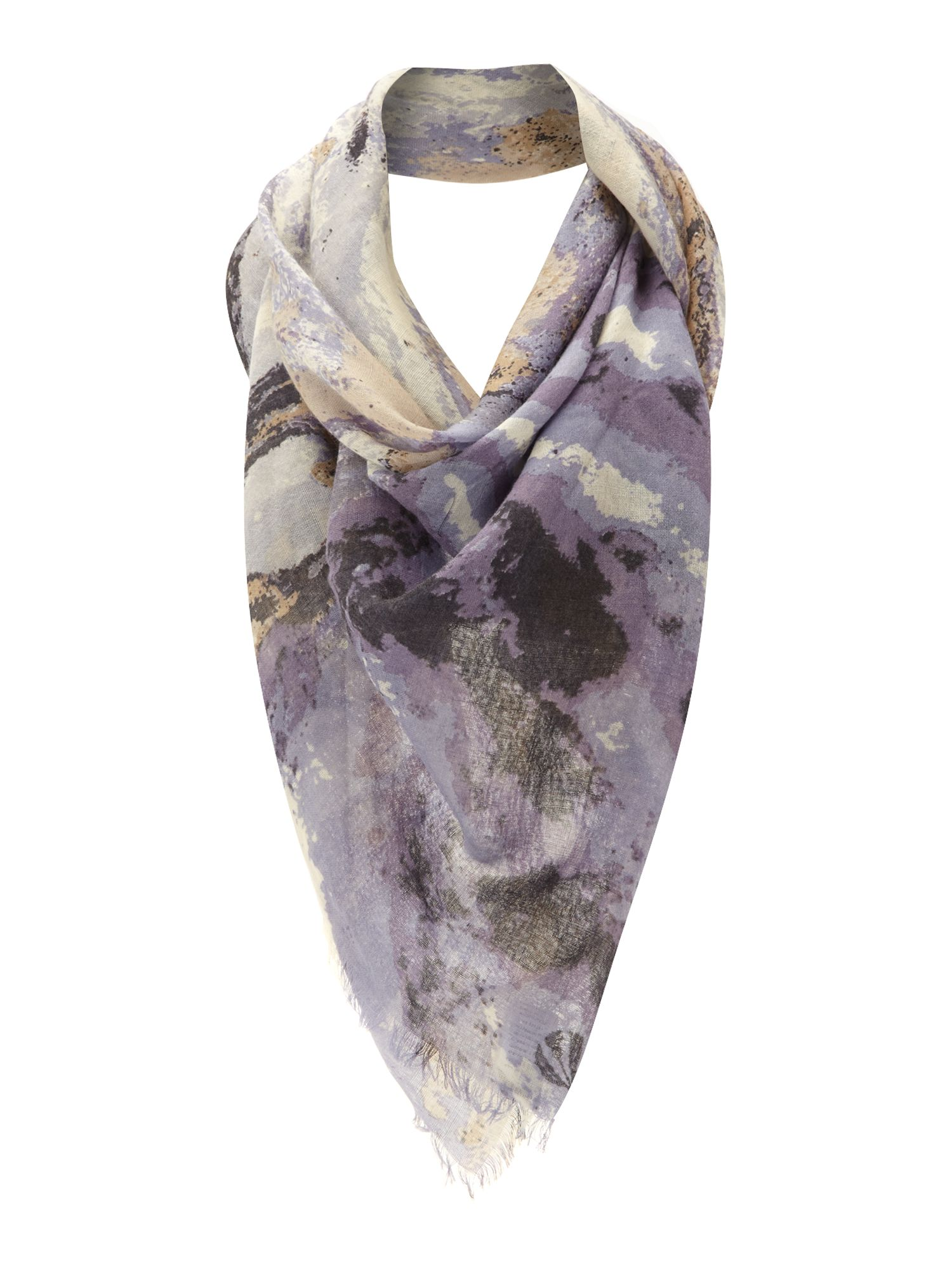Mystical coast print oversized wool wrap