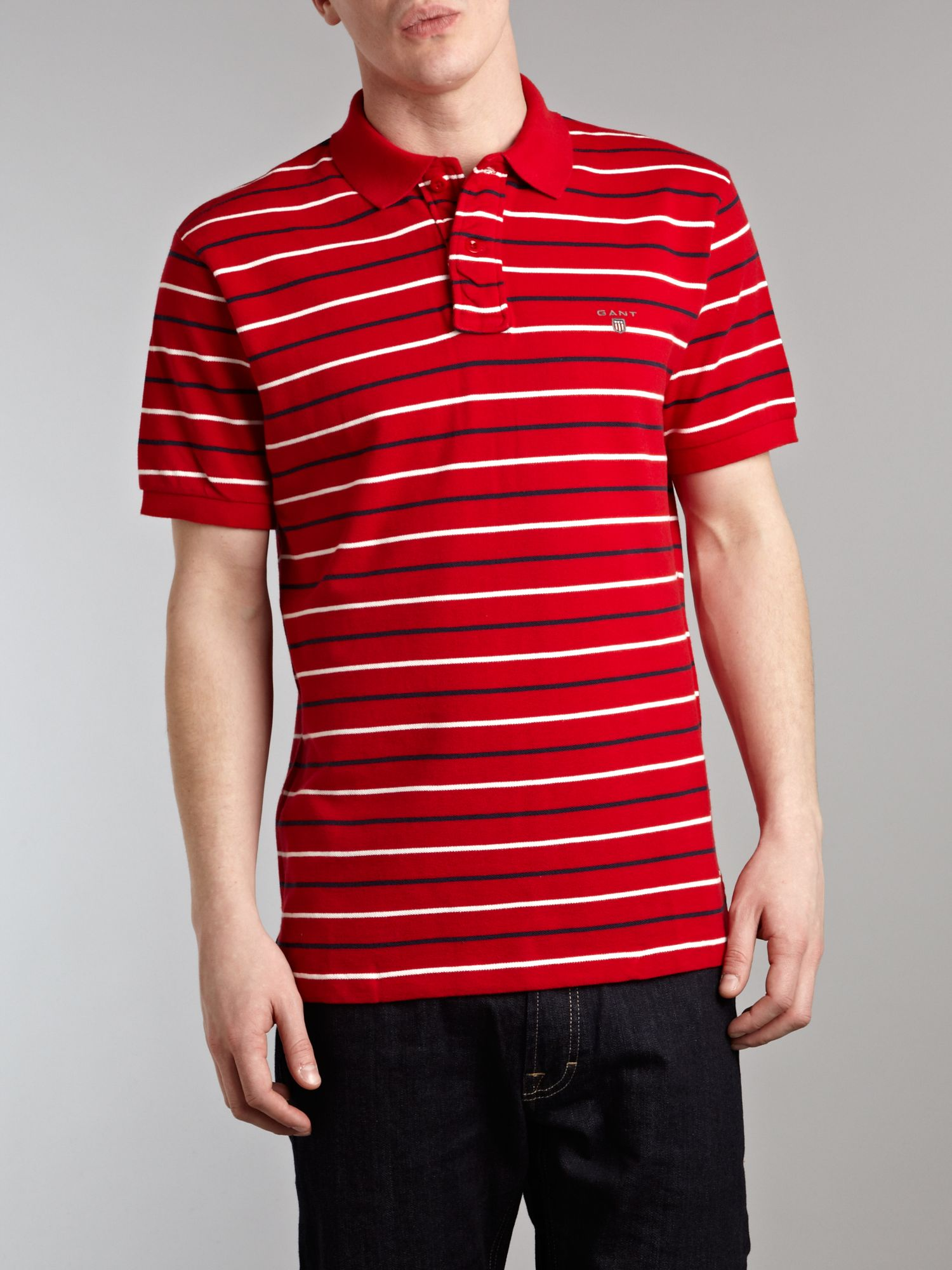 Regular fit thin stripe polo shirt