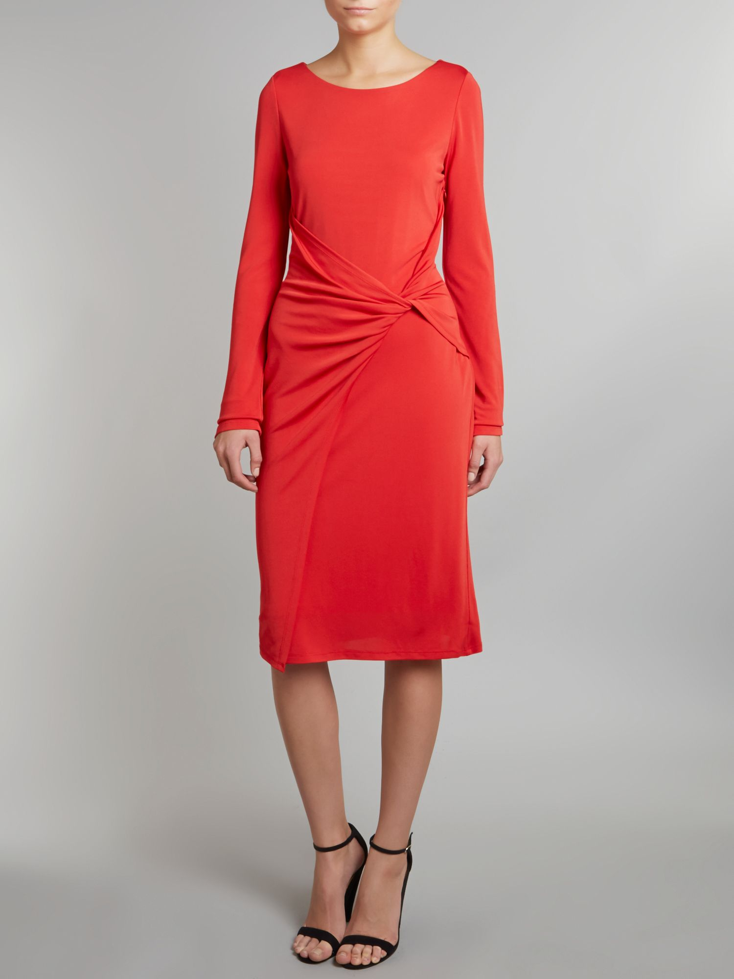 Long sleeved jersey wrap dress