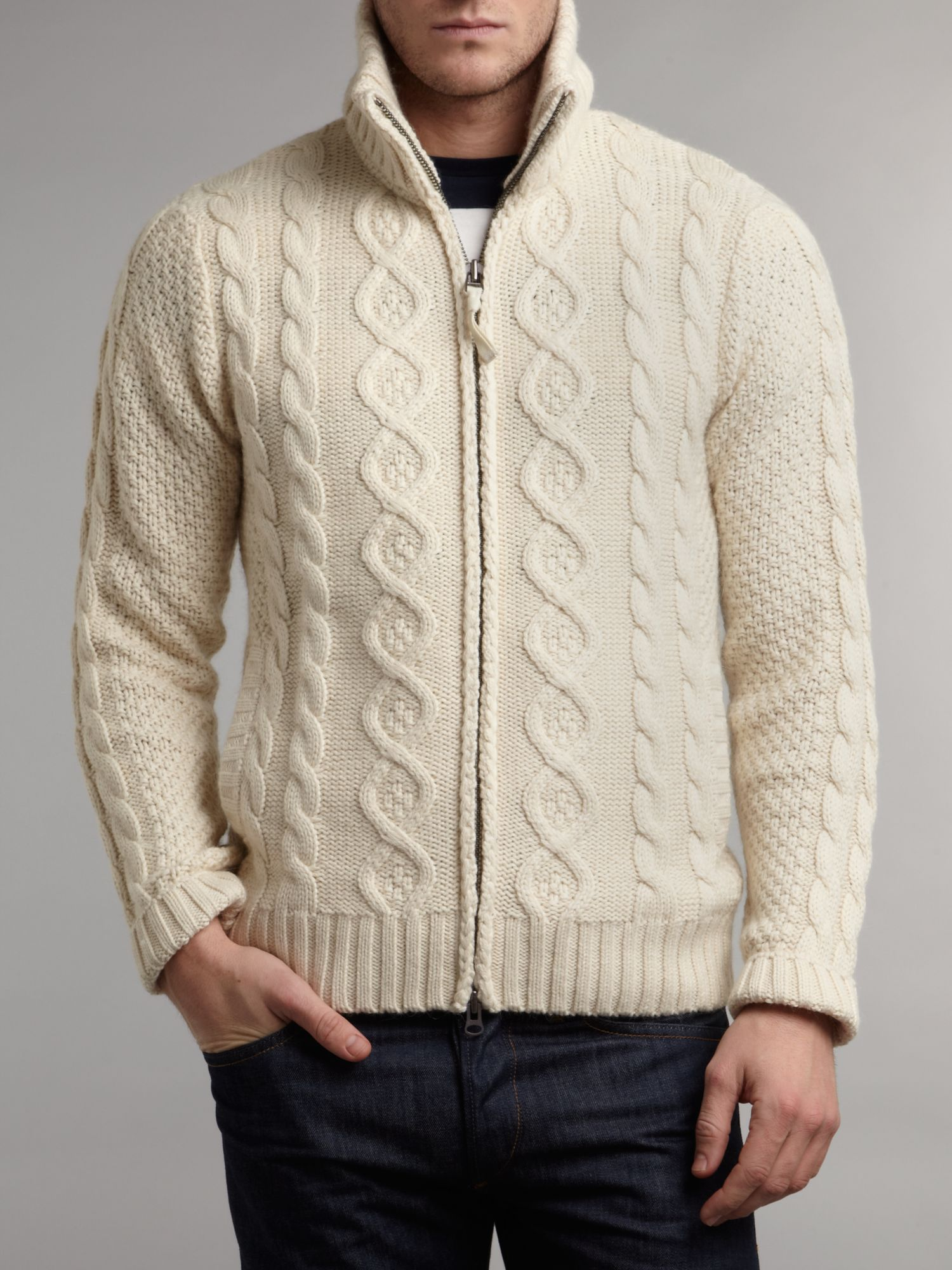 Funnel neck cable knit cardigan