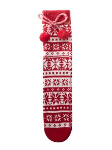 Elle Fairisle slipper with pom pom