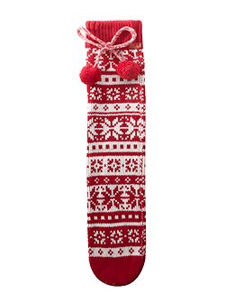 Fairisle slipper socks with pom pom