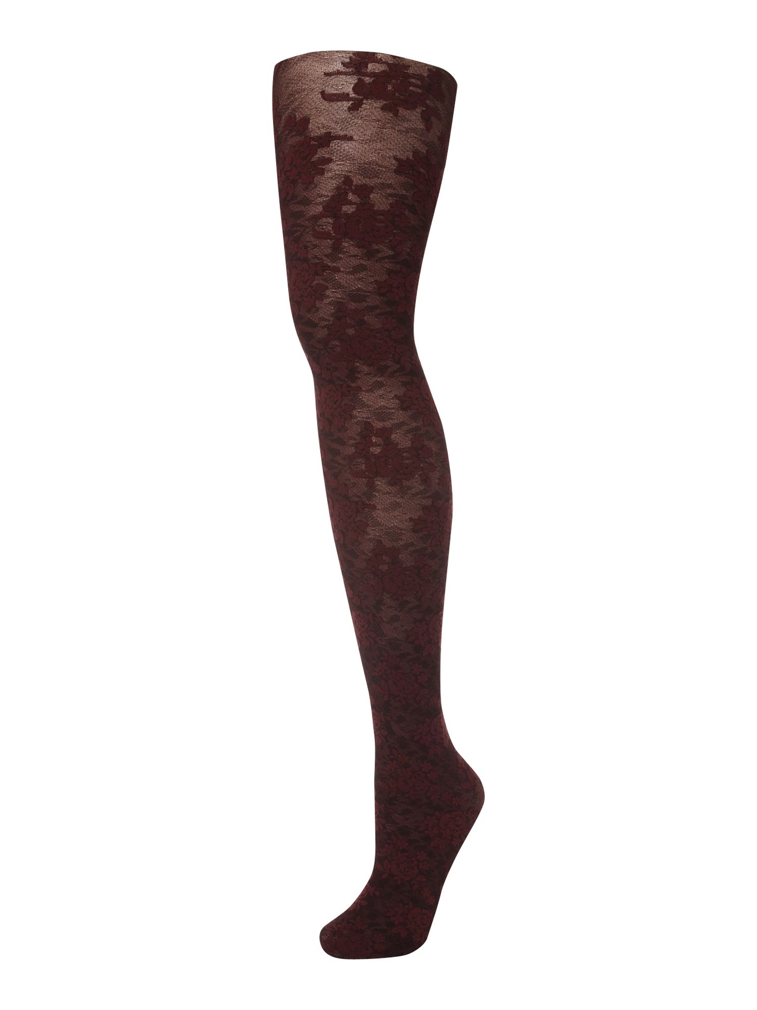 Two tone floral opaque tights