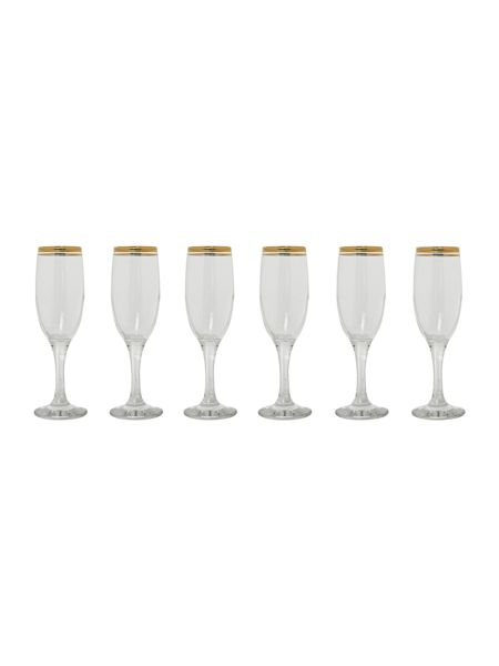 House of Fraser Classic gold champagne flutes, set of 6