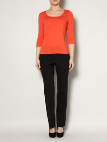 Square neck jersey top 3/4 sleeve
