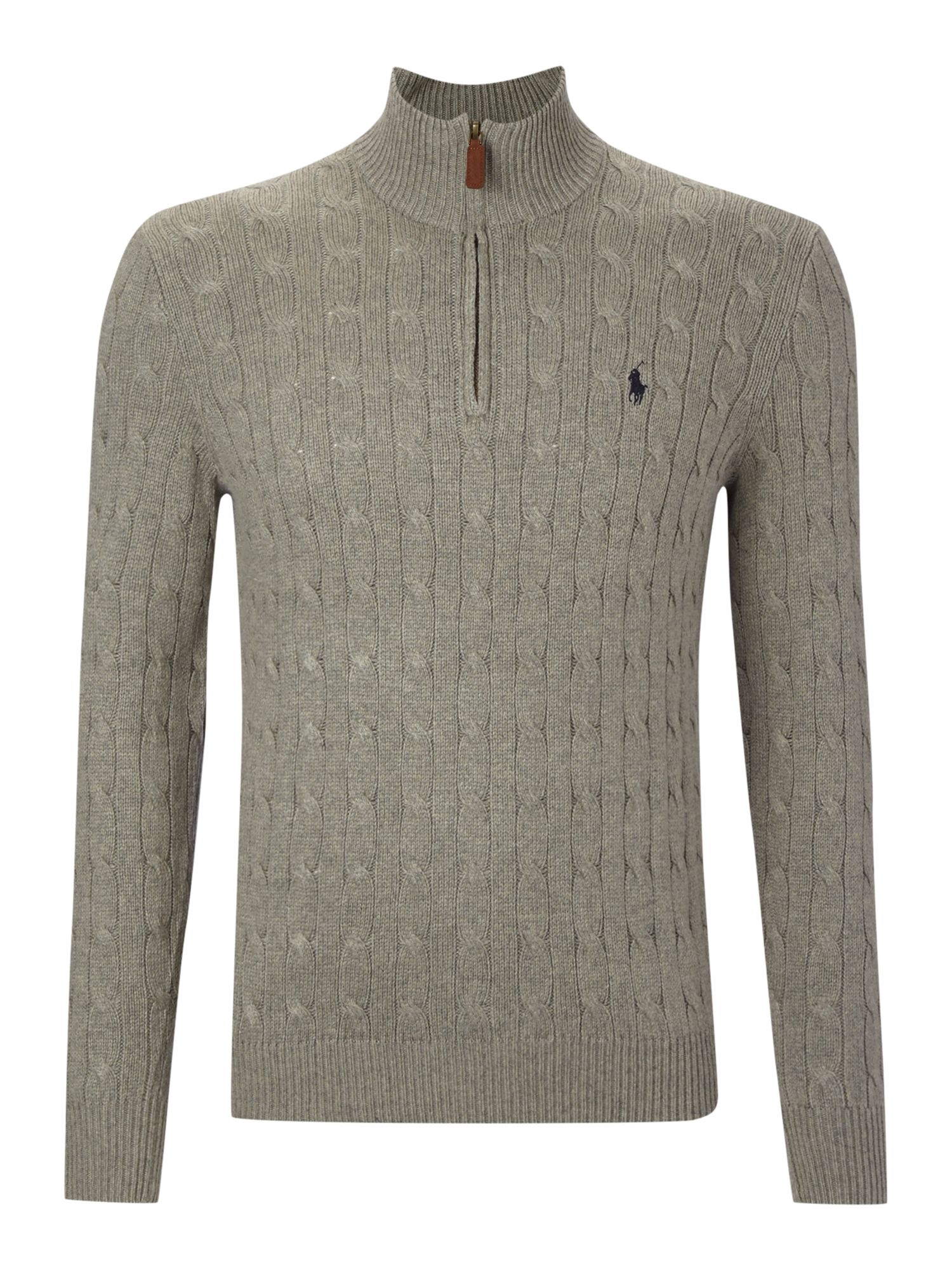 Half zip through silk and cotton blend jumper