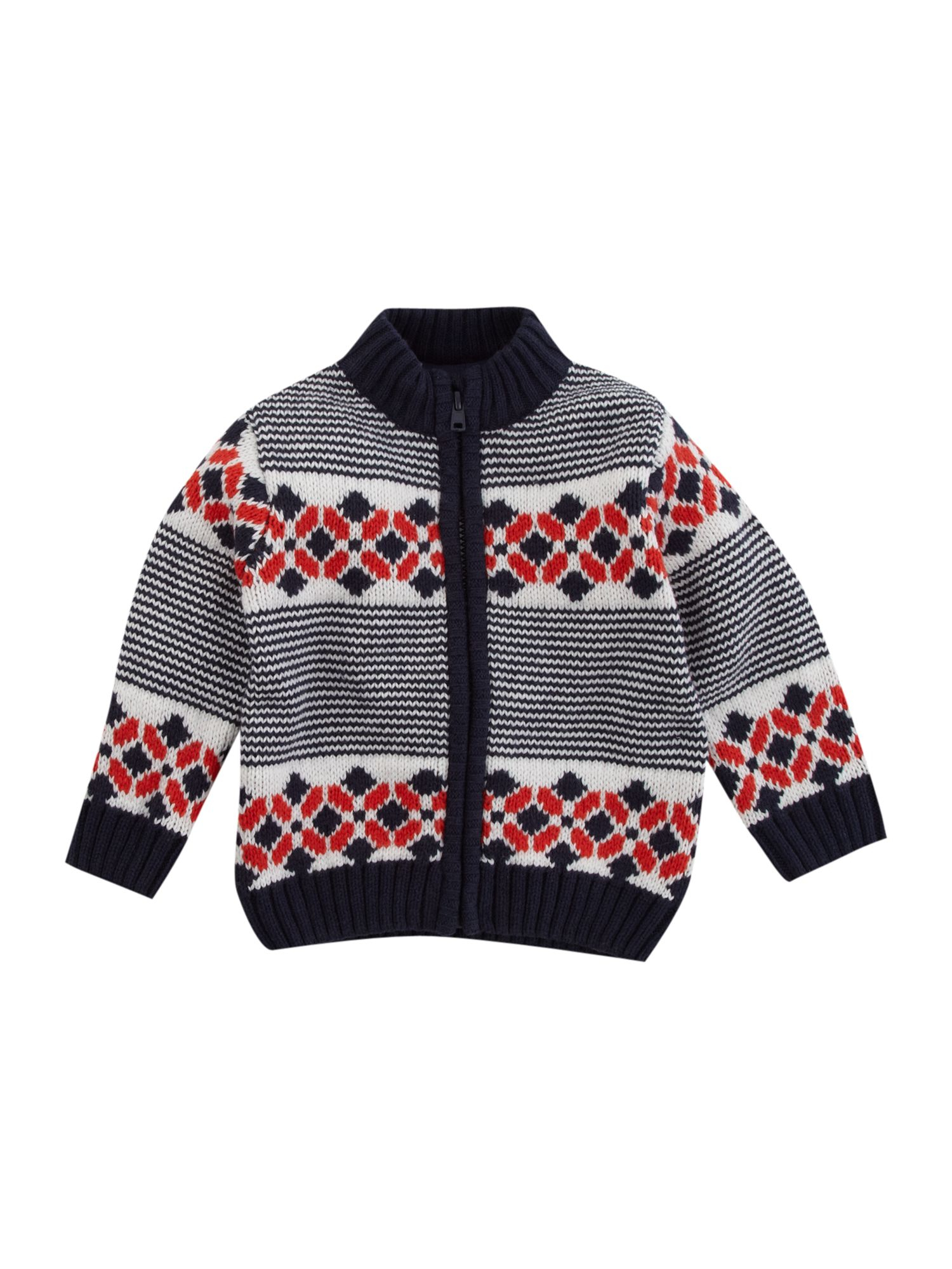 Boy`s zip-through chunky cardigan