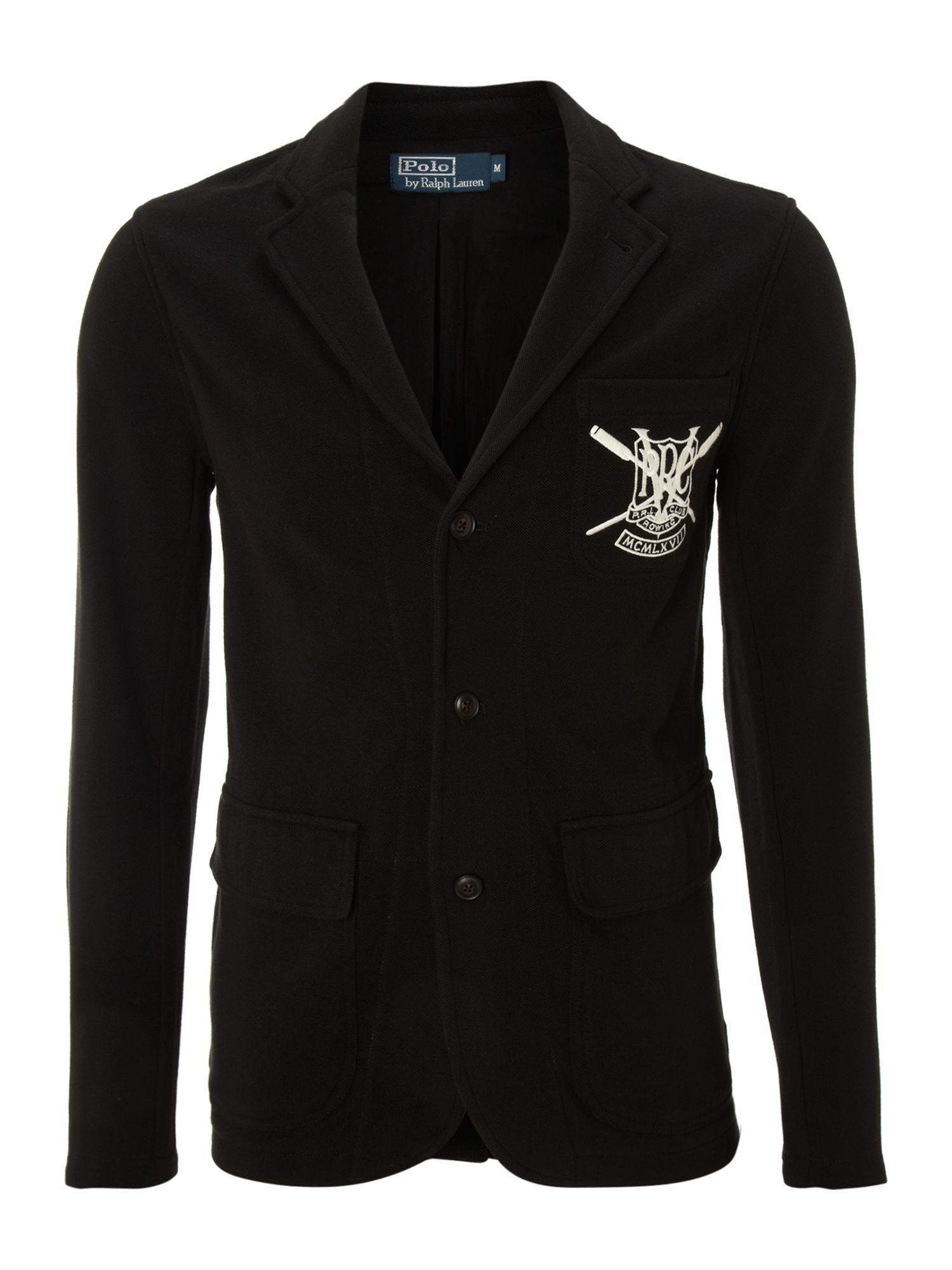 Jersey blazer with contrast shield badge